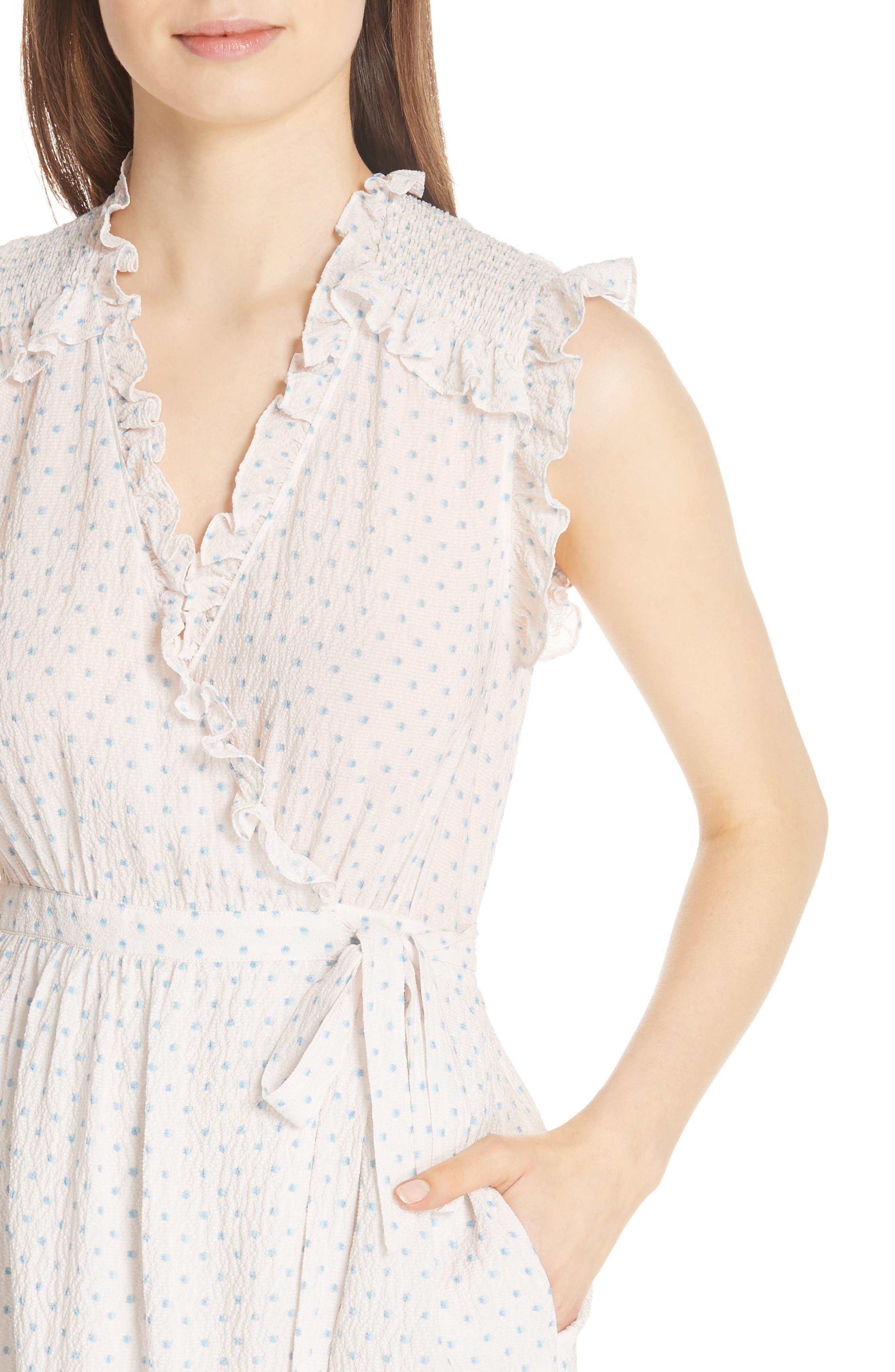 Dot Ruffle Faux Wrap Dress,                             Alternate thumbnail 4, color,                             Vanilla Combo