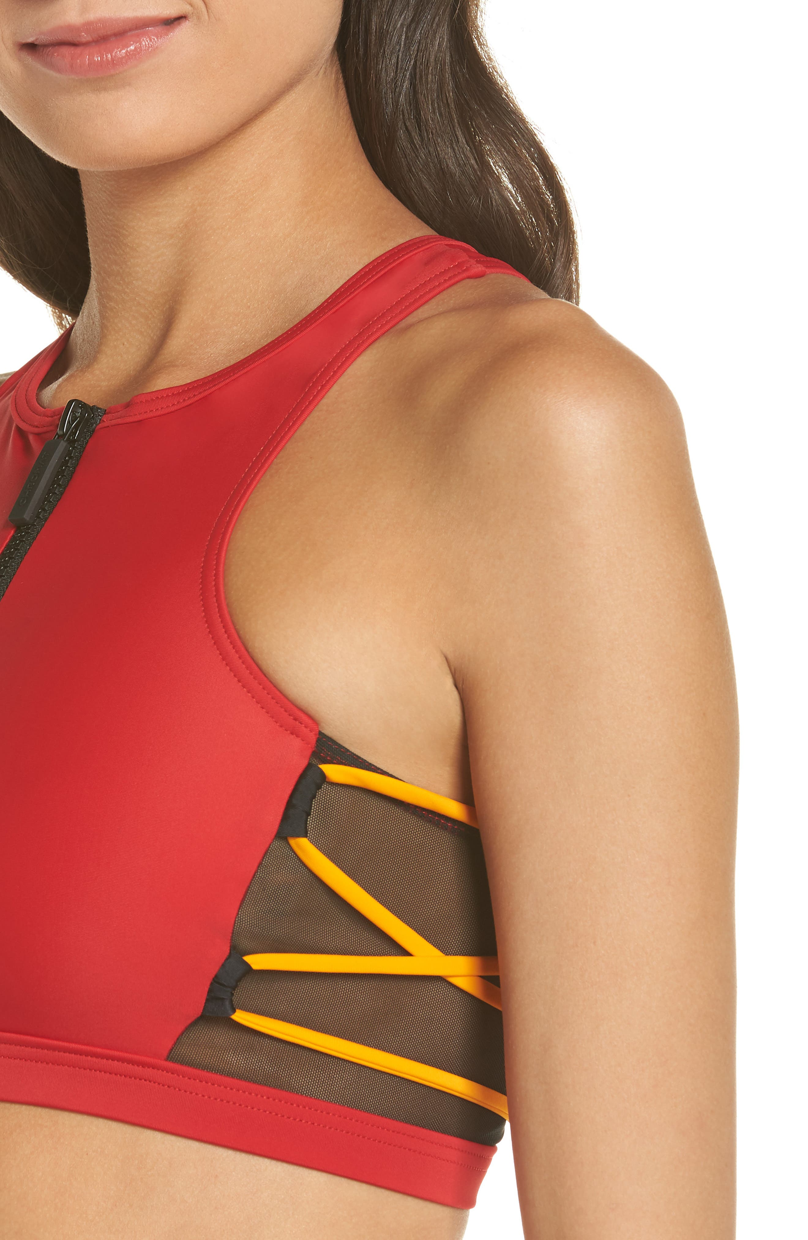 Launch Bikini Top,                             Alternate thumbnail 4, color,                             Red/ Black/ Orange