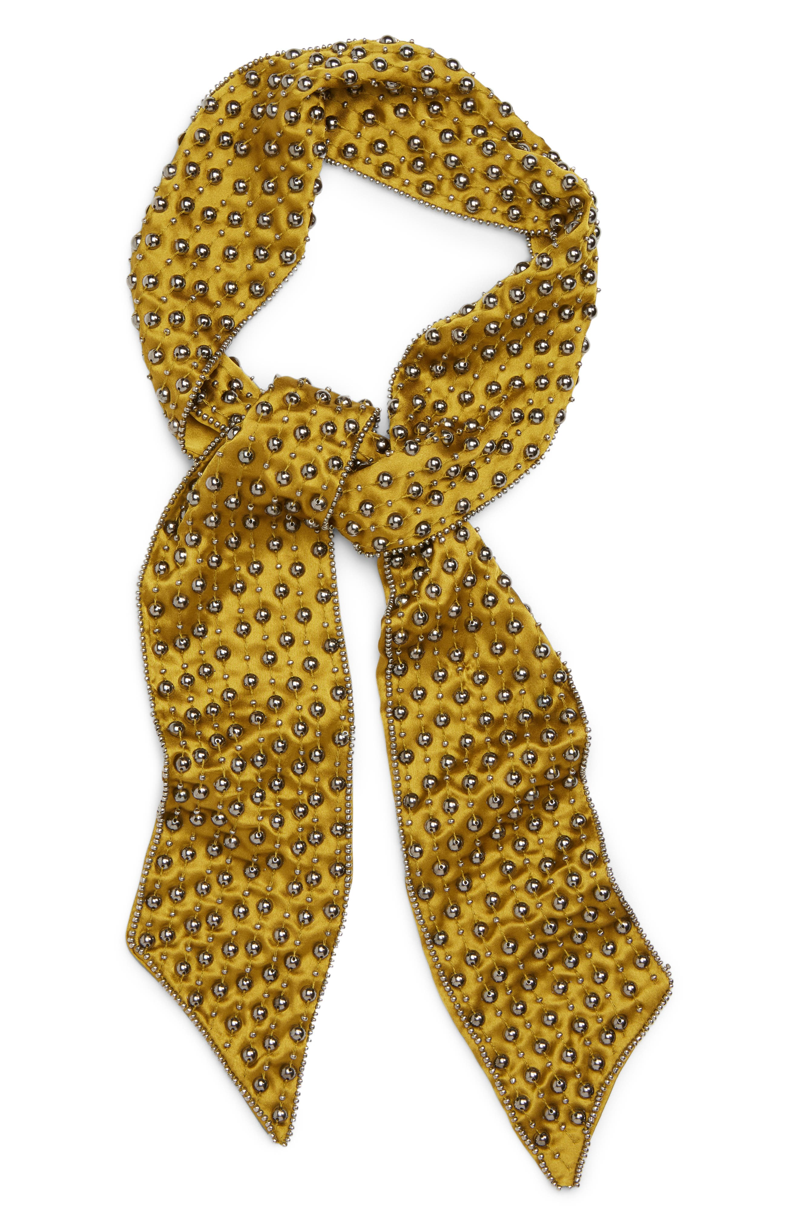 Hard Rock Studded Scarf,                             Main thumbnail 1, color,                             Chartreuse