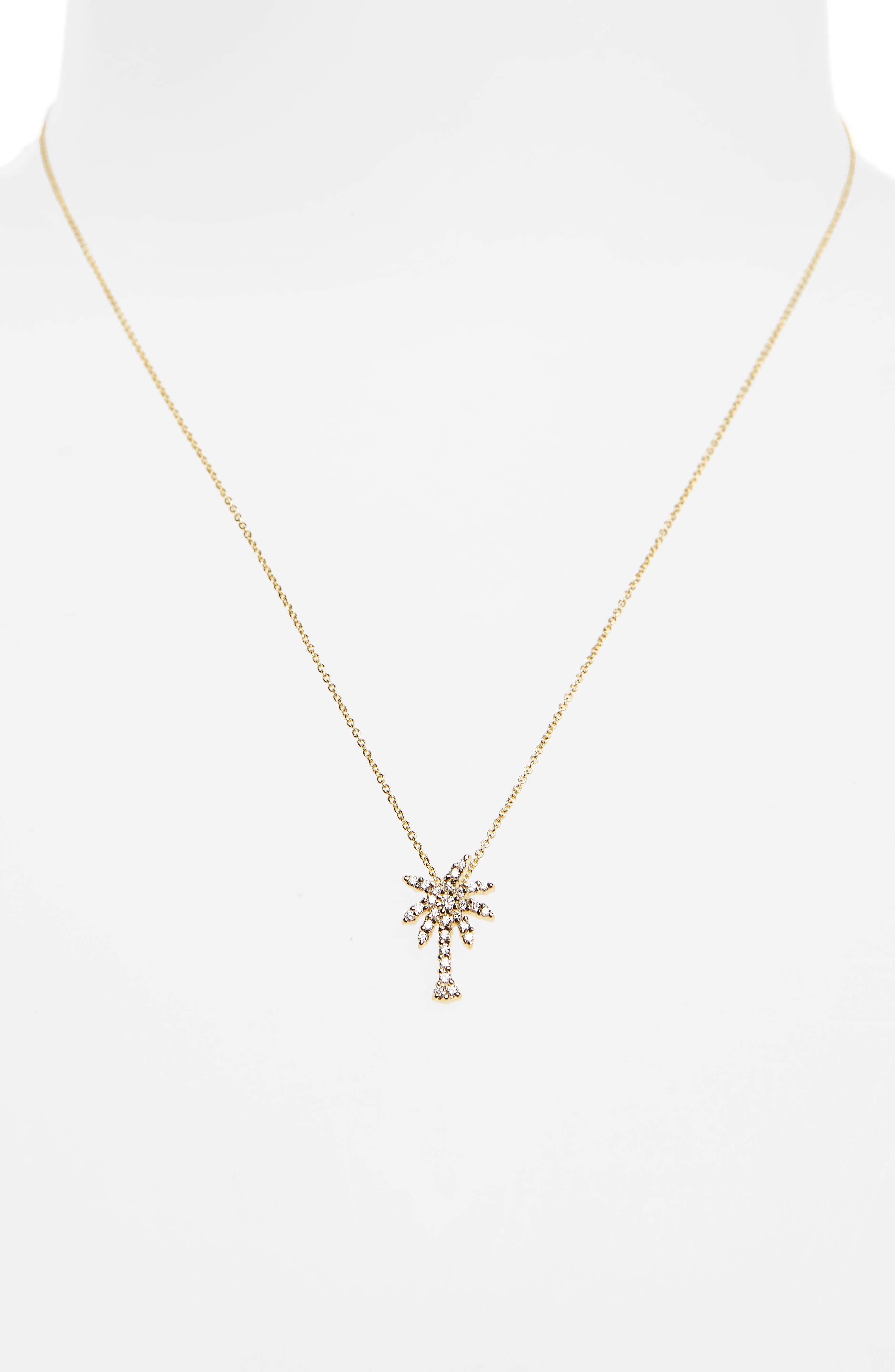Diamond Palm Tree Necklace,                             Alternate thumbnail 2, color,                             Yellow Gold