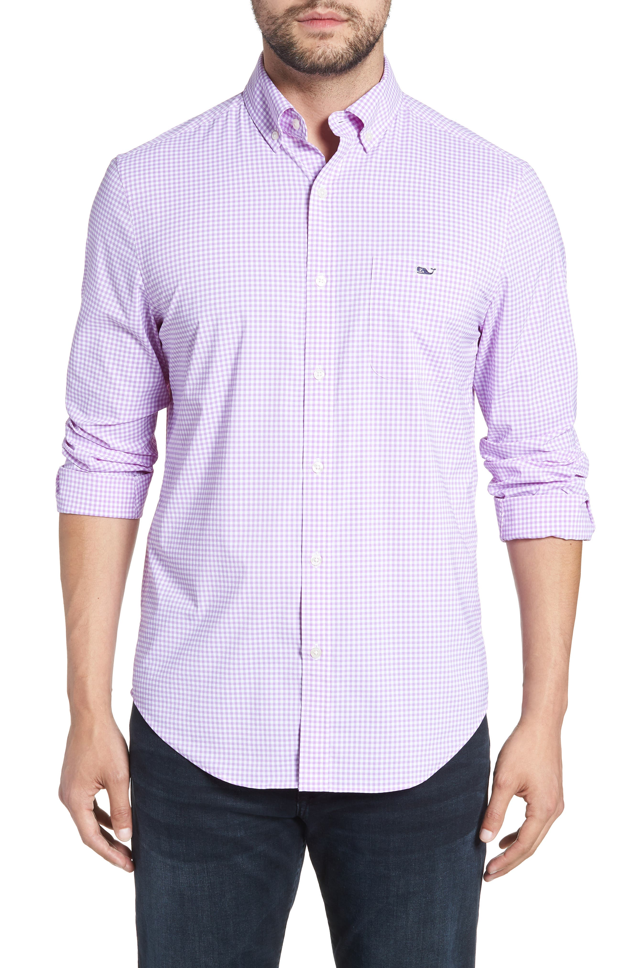 Grand Cay Tucker Regular Fit Gingham Performance Sport Shirt,                         Main,                         color, Sea Urchin