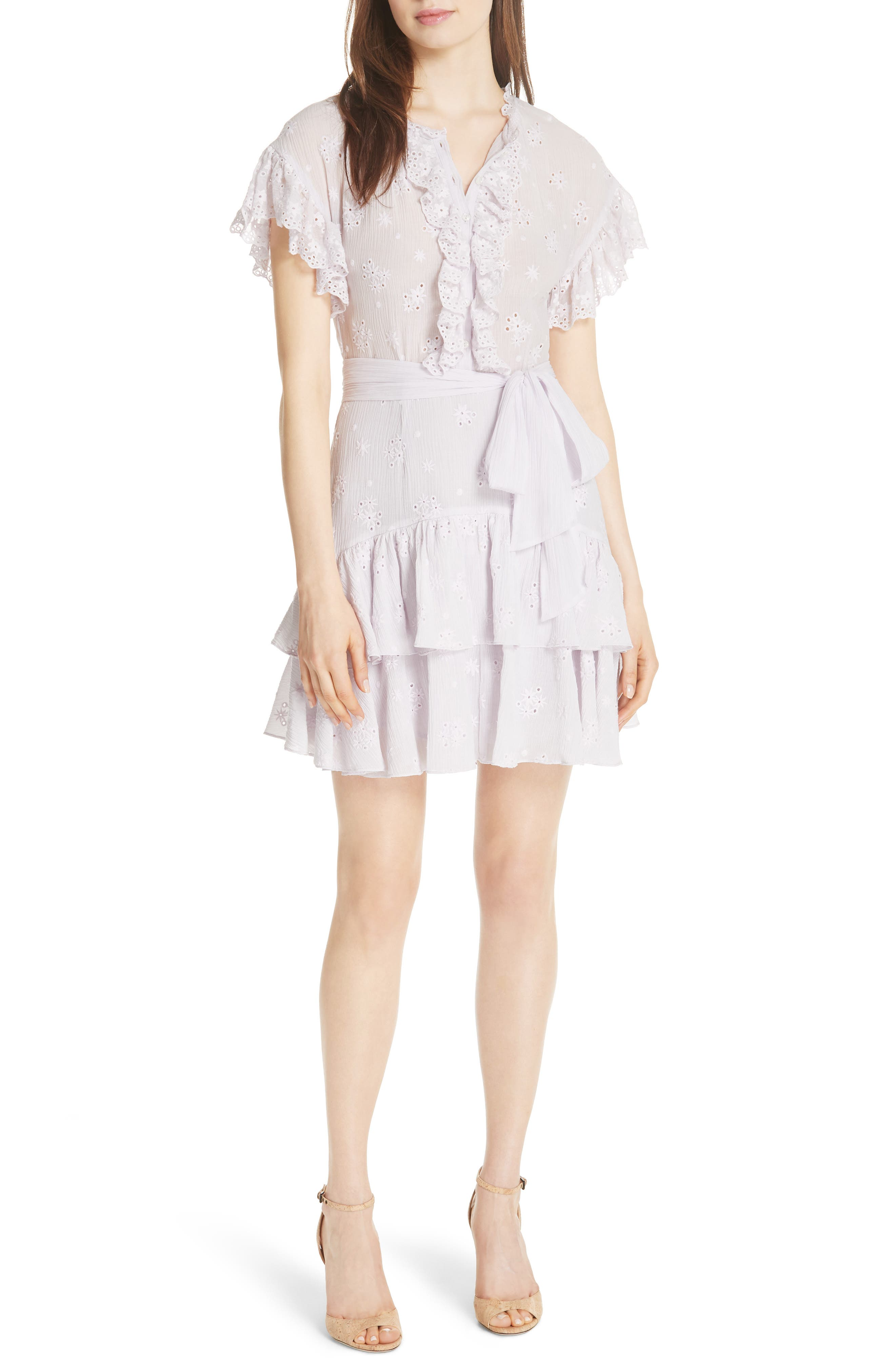 Dree Embroidered Ruffle Dress,                             Main thumbnail 1, color,                             Faded Lavender