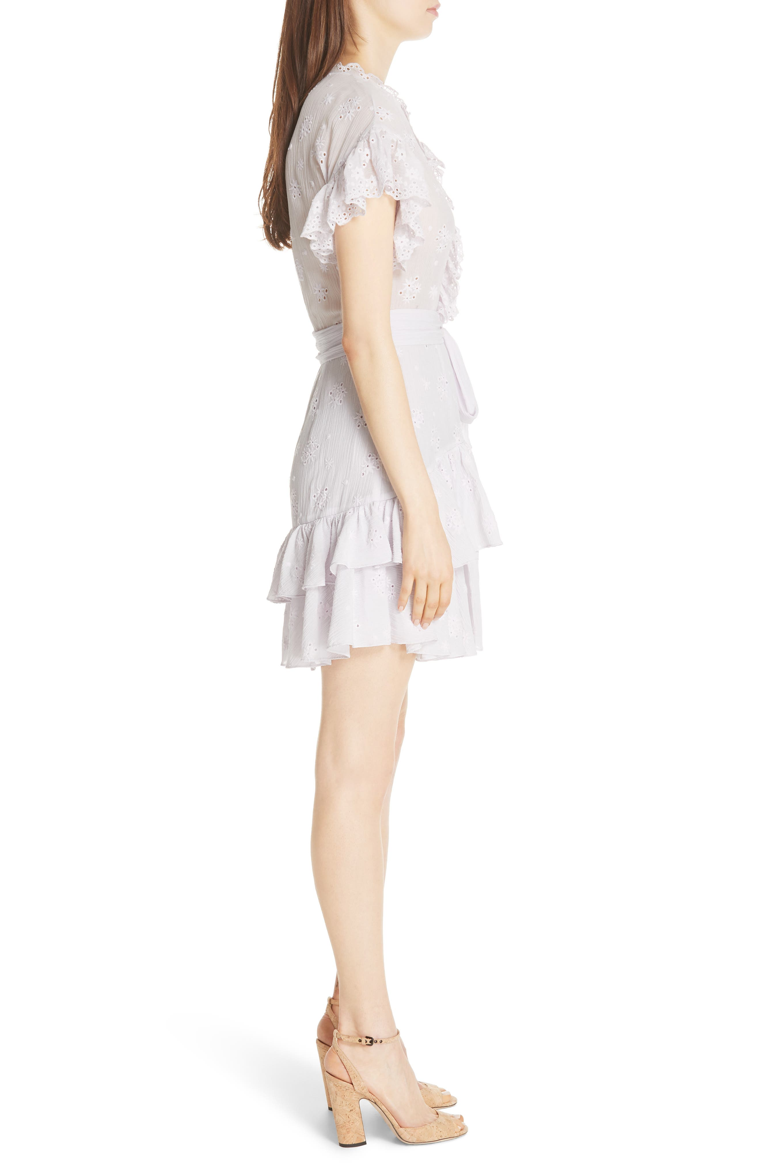 Dree Embroidered Ruffle Dress,                             Alternate thumbnail 5, color,                             Faded Lavender