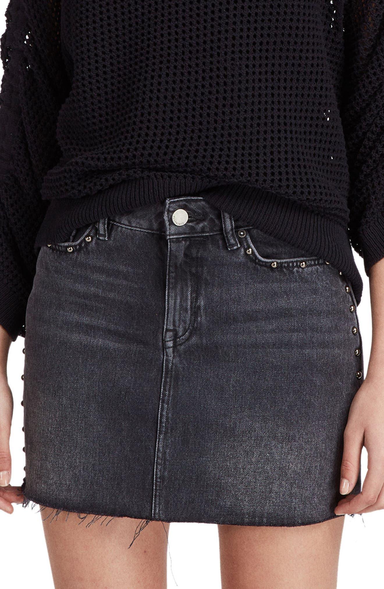 Studded Denim Skirt,                             Main thumbnail 1, color,                             Washed Black