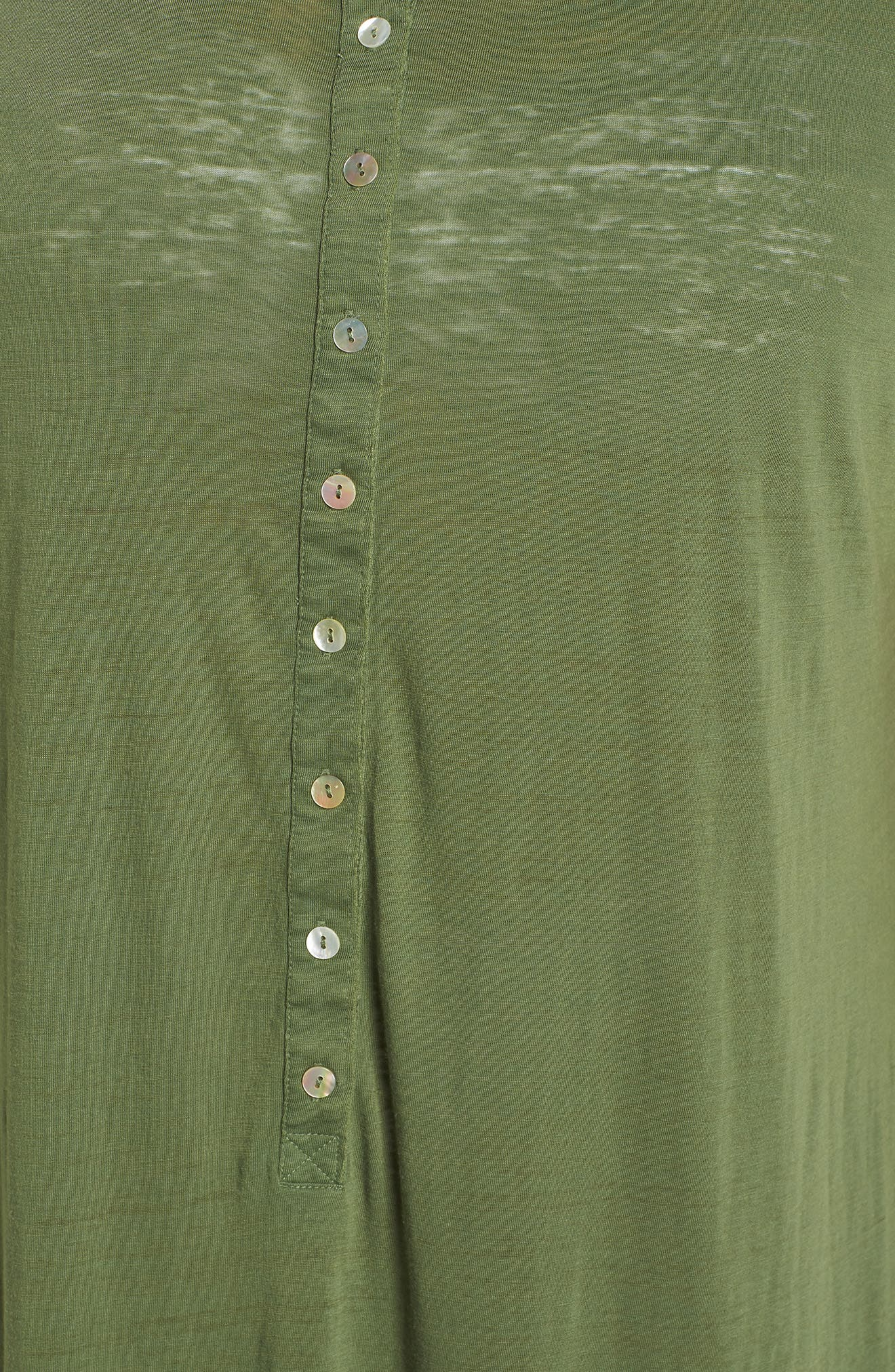 Henley Cover-Up Dress,                             Alternate thumbnail 3, color,                             Green Bronze