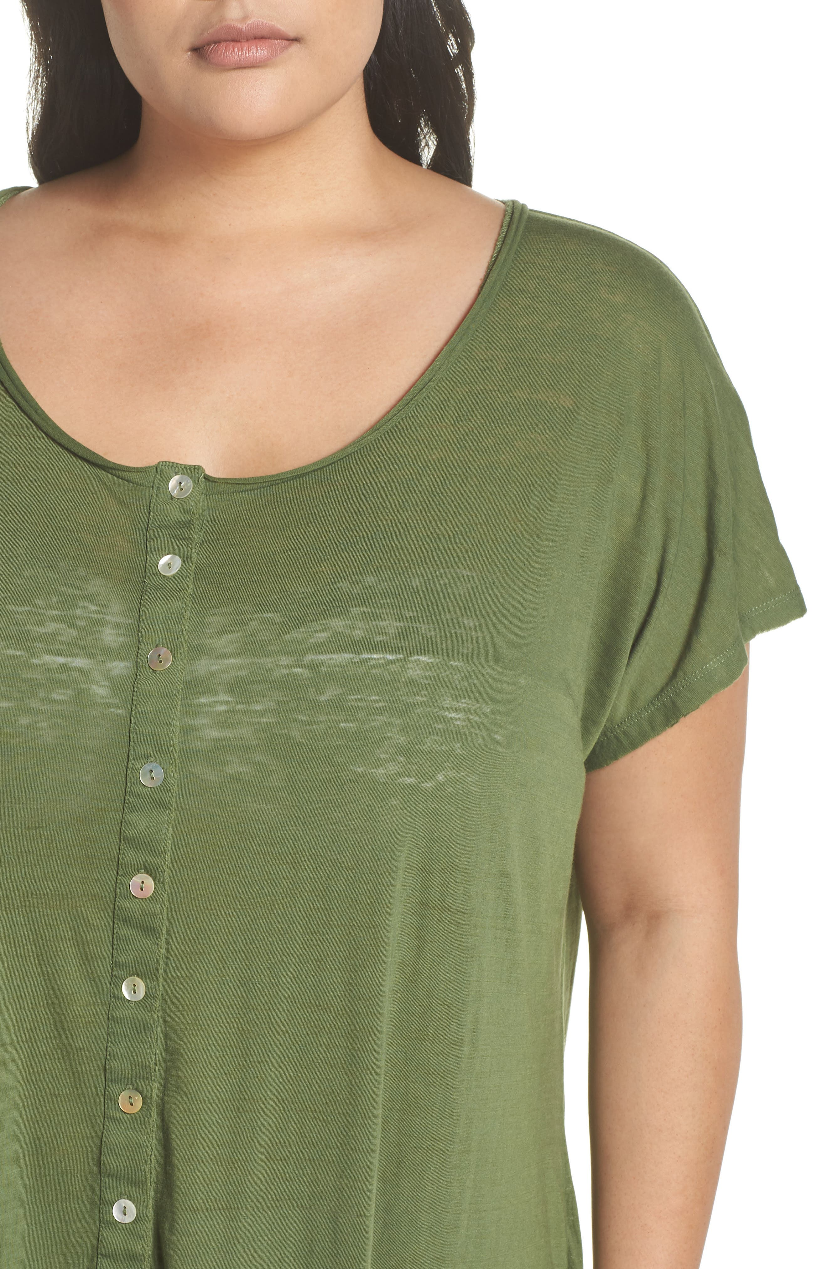 Henley Cover-Up Dress,                             Alternate thumbnail 4, color,                             Green Bronze