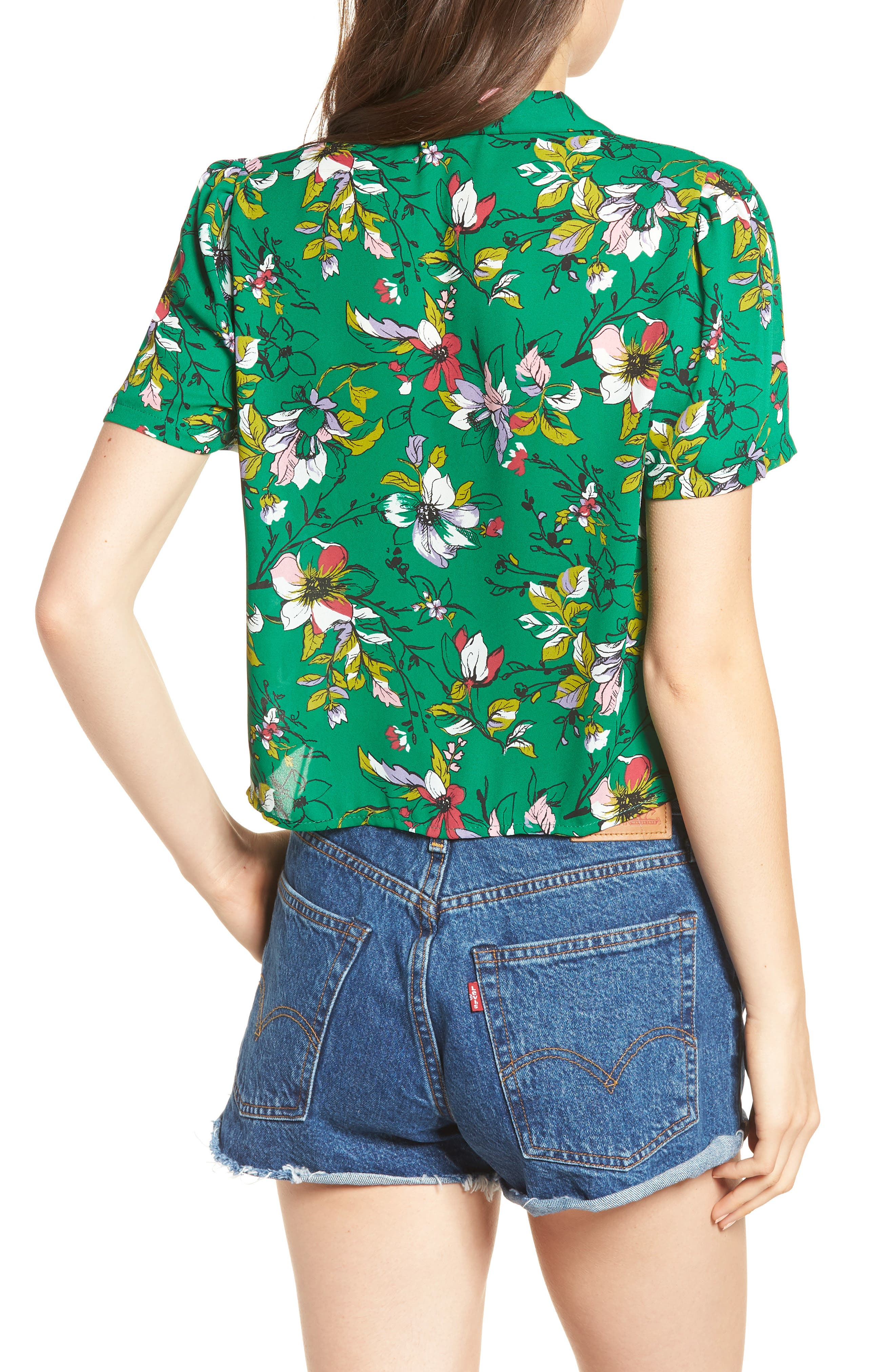 Tie Front Camp Shirt,                             Alternate thumbnail 2, color,                             Green Floral