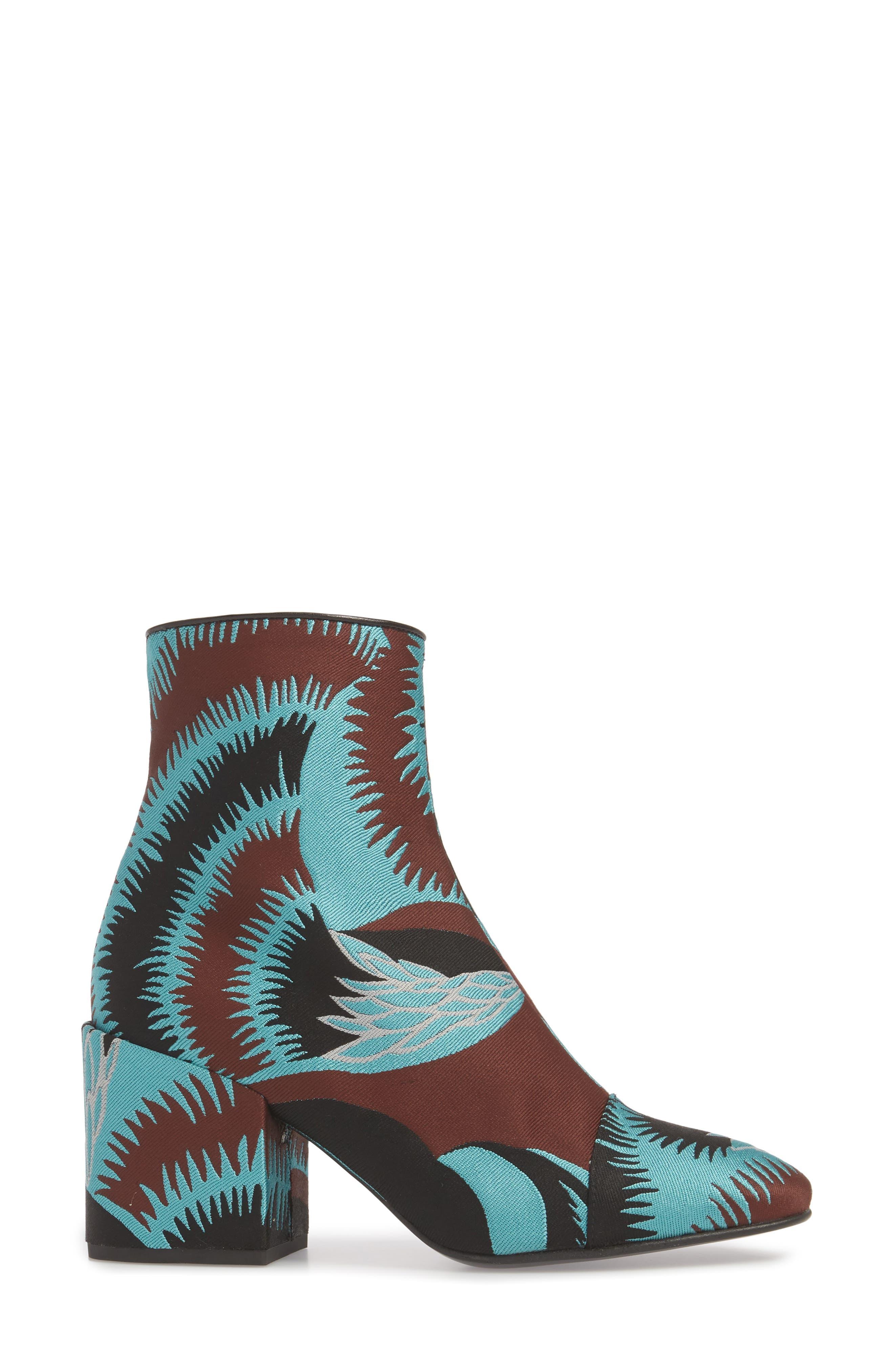 Print Block Heel Bootie,                             Alternate thumbnail 3, color,                             Turquoise