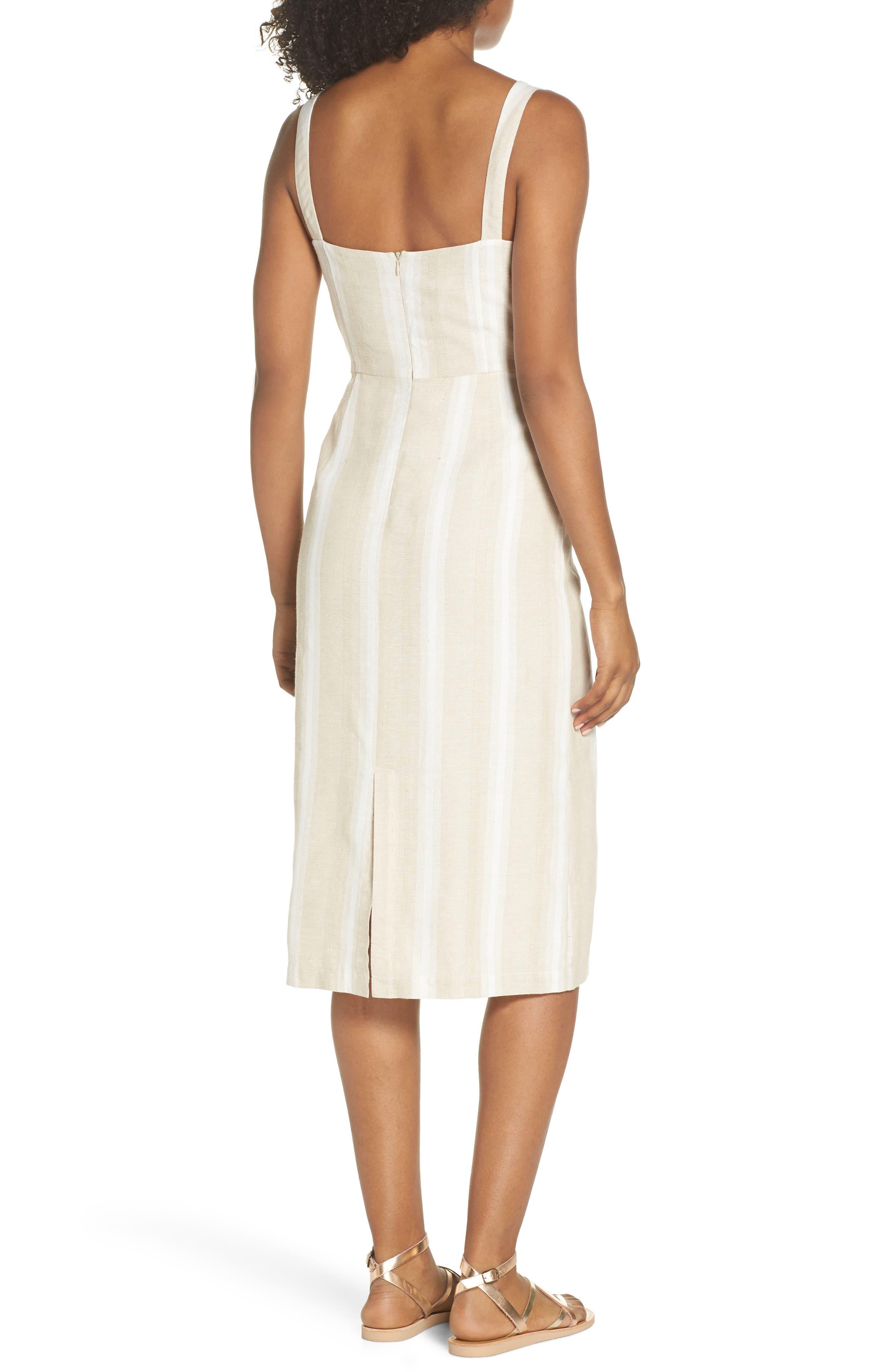 Peekabo Stripe Midi Dress,                             Alternate thumbnail 2, color,                             Sand