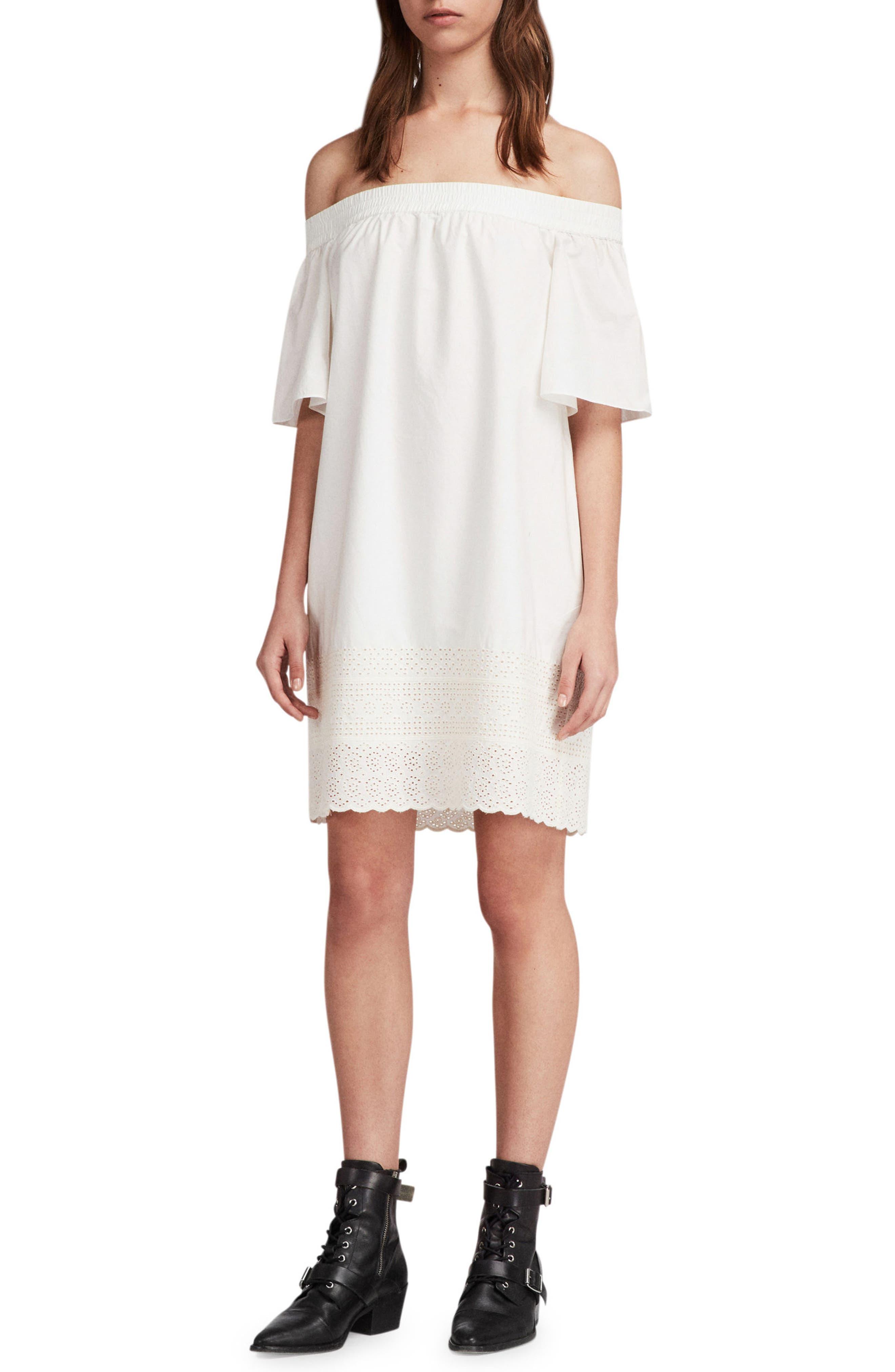 Livia Trixi Off the Shoulder Cotton Dress,                             Main thumbnail 1, color,                             Chalk White