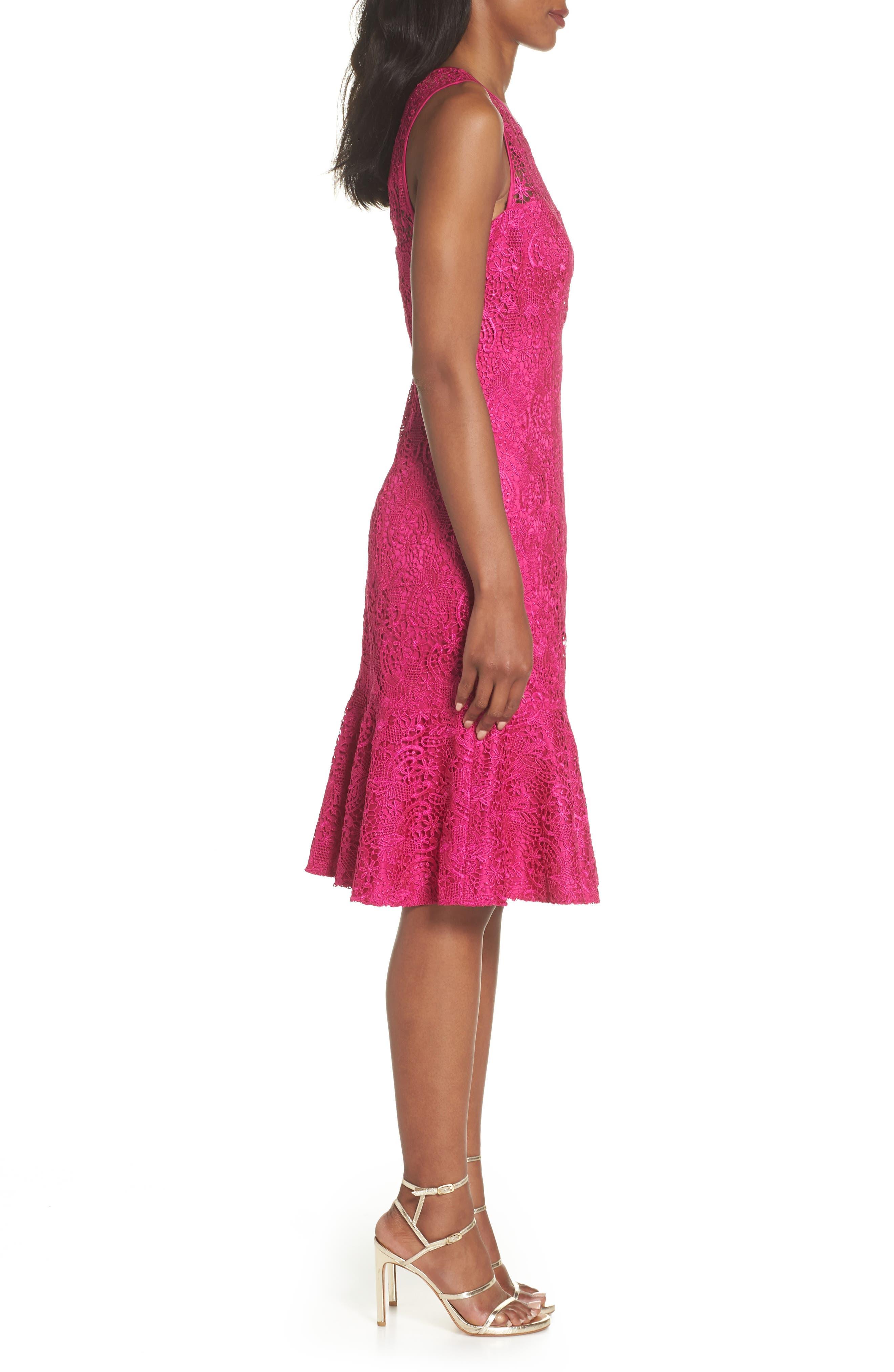 Sleeveless Lace Sheath Dress,                             Alternate thumbnail 3, color,                             Pink