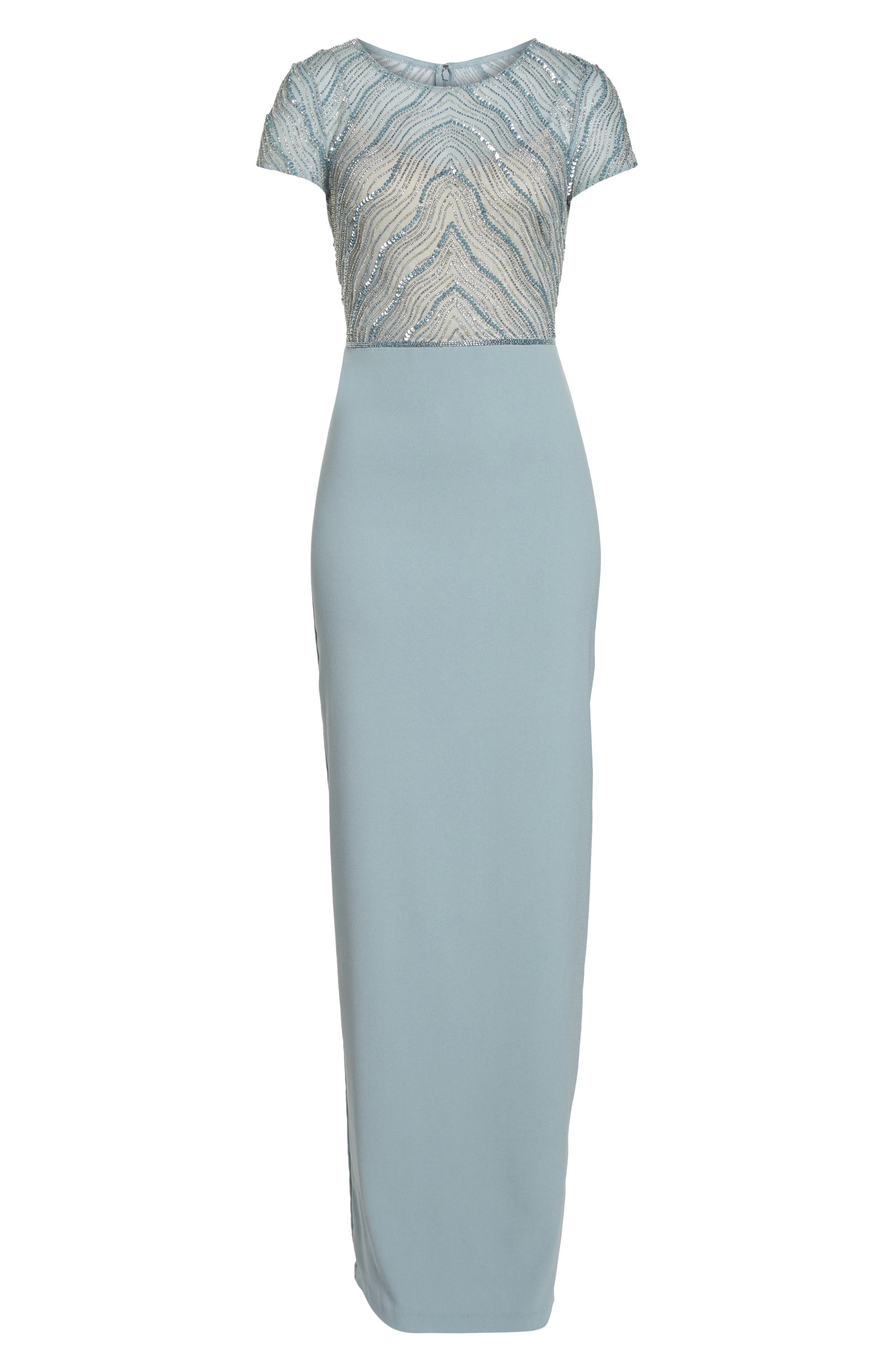 Beaded Illusion Bodice Gown,                             Alternate thumbnail 7, color,                             Blue Heather