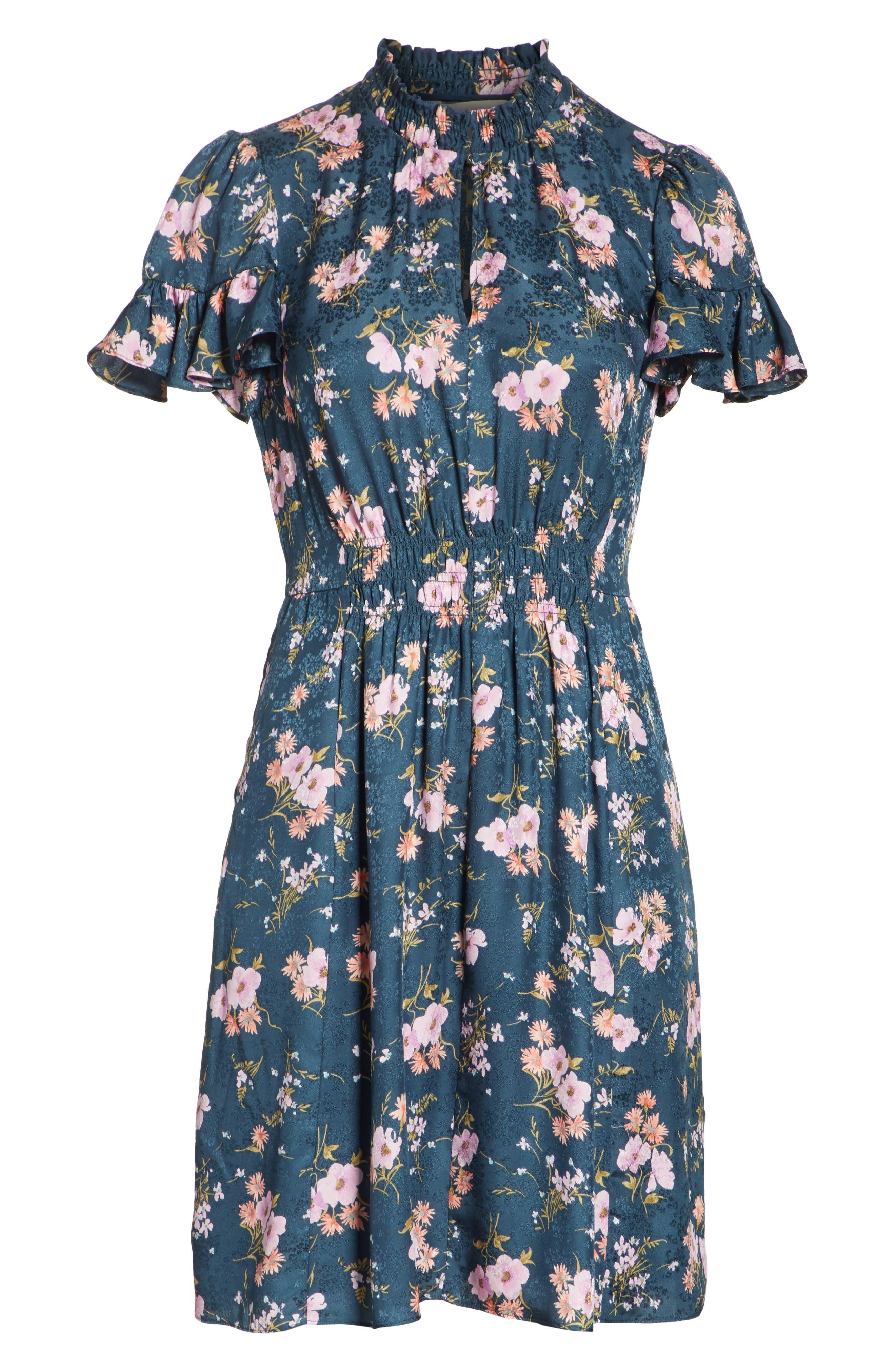 Emilia Floral Silk Jacquard Dress,                             Alternate thumbnail 6, color,                             Teal Combo