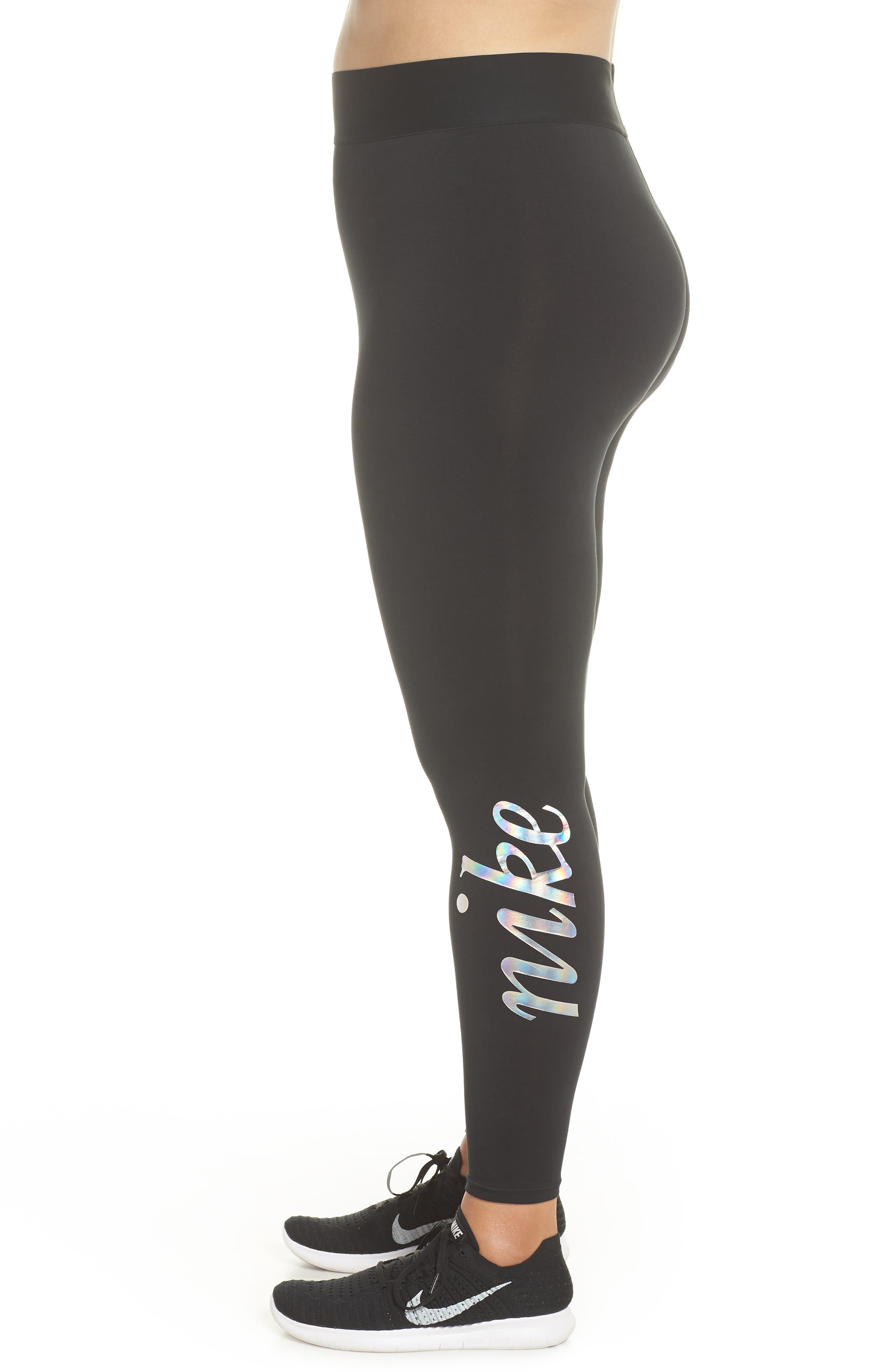 Sportswear Metallic Logo Leggings,                             Alternate thumbnail 3, color,                             Black/ Black