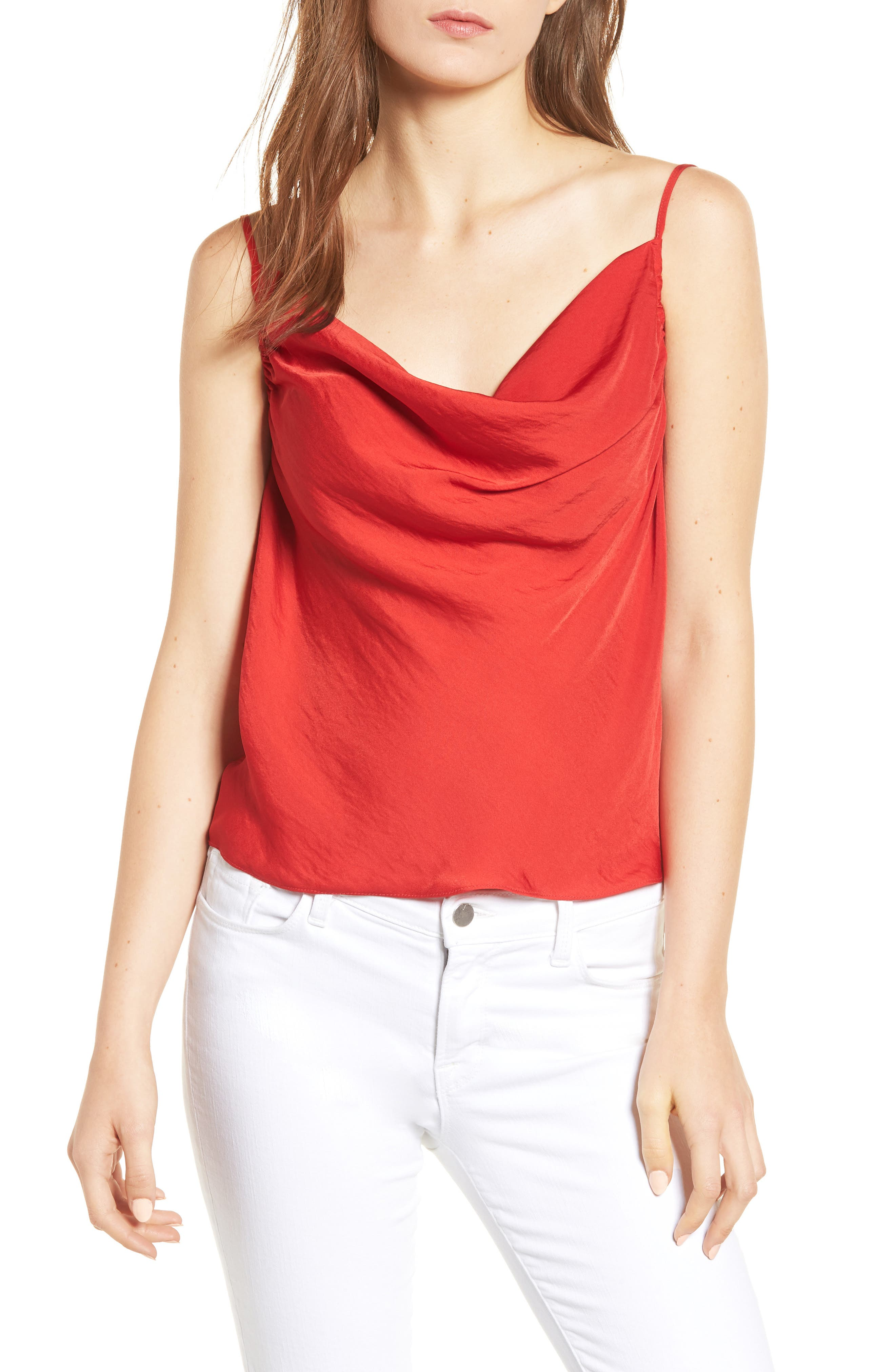 Cowl Neck Camisole,                             Main thumbnail 1, color,                             True Red