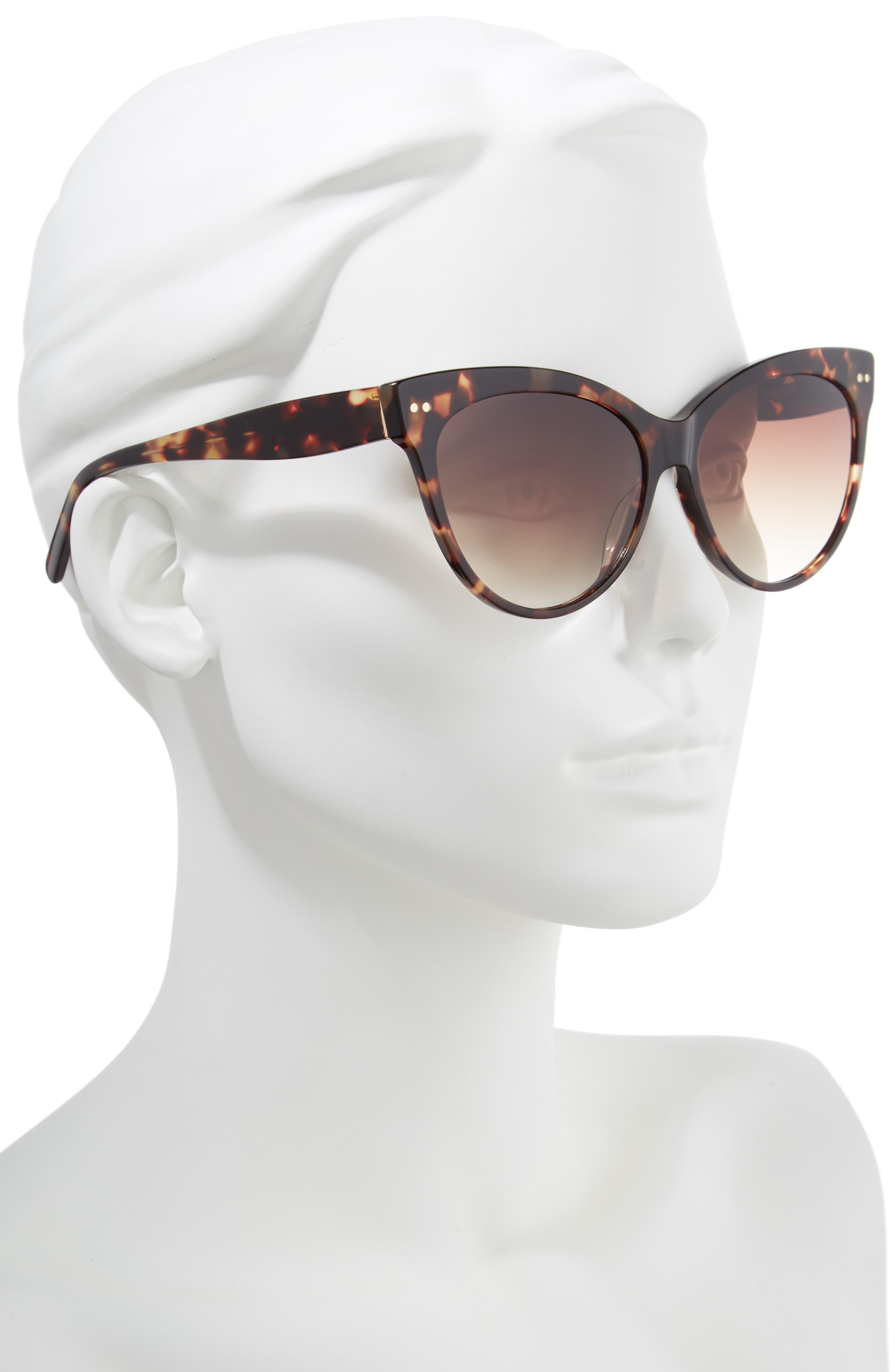 Audrey 60mm Cat Eye Sunglasses,                             Alternate thumbnail 2, color,                             Brown Tortoise