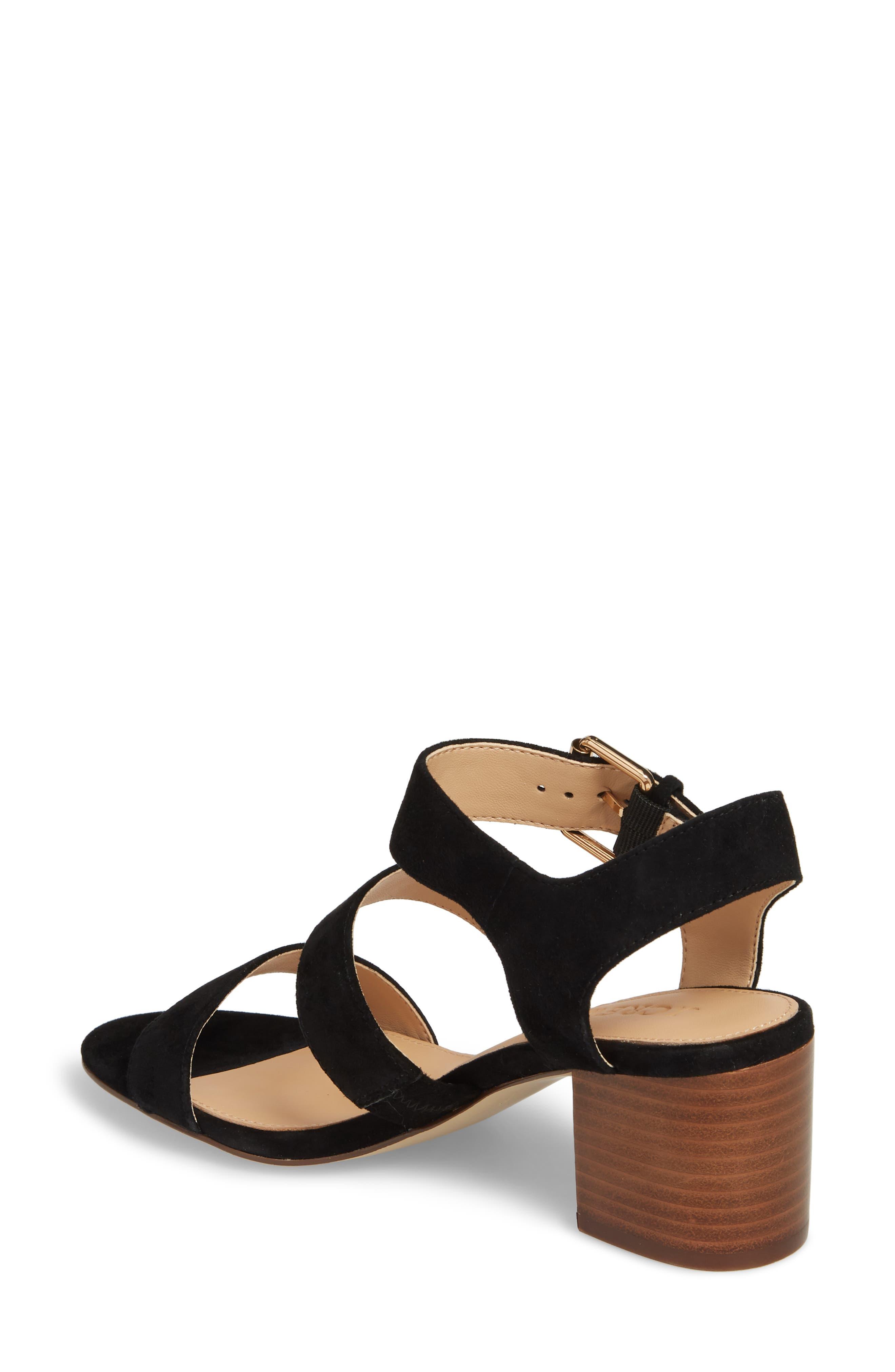Three-Strap Suede Sandal,                             Alternate thumbnail 2, color,                             Black Suede