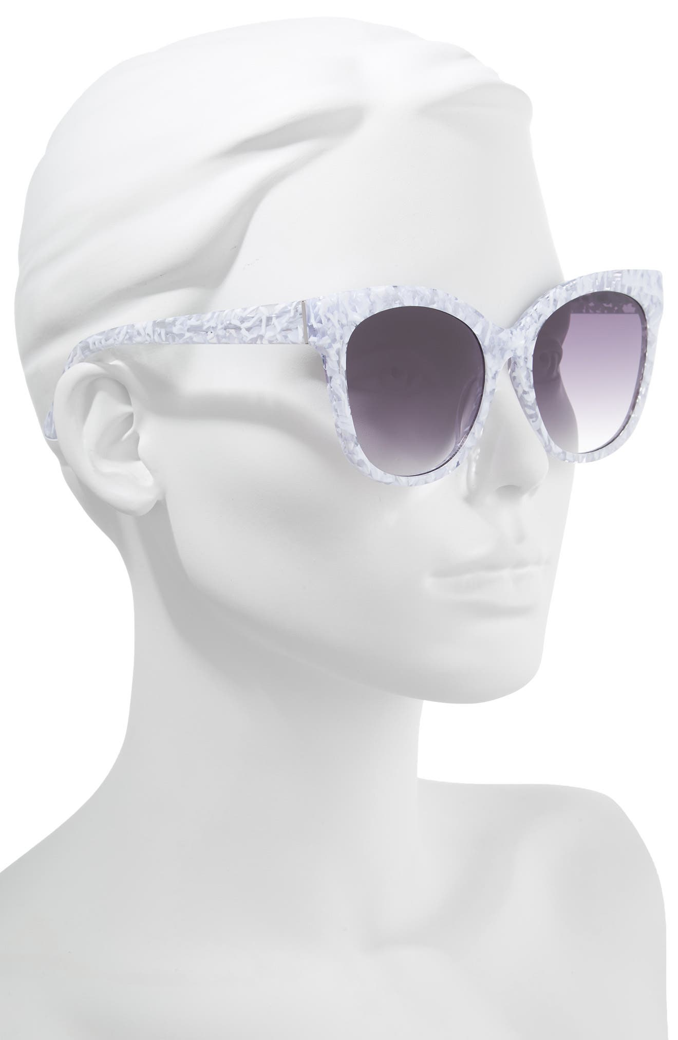 Bossa Nova 57mm Cat Eye Sunglasses,                             Alternate thumbnail 2, color,                             White Speckle