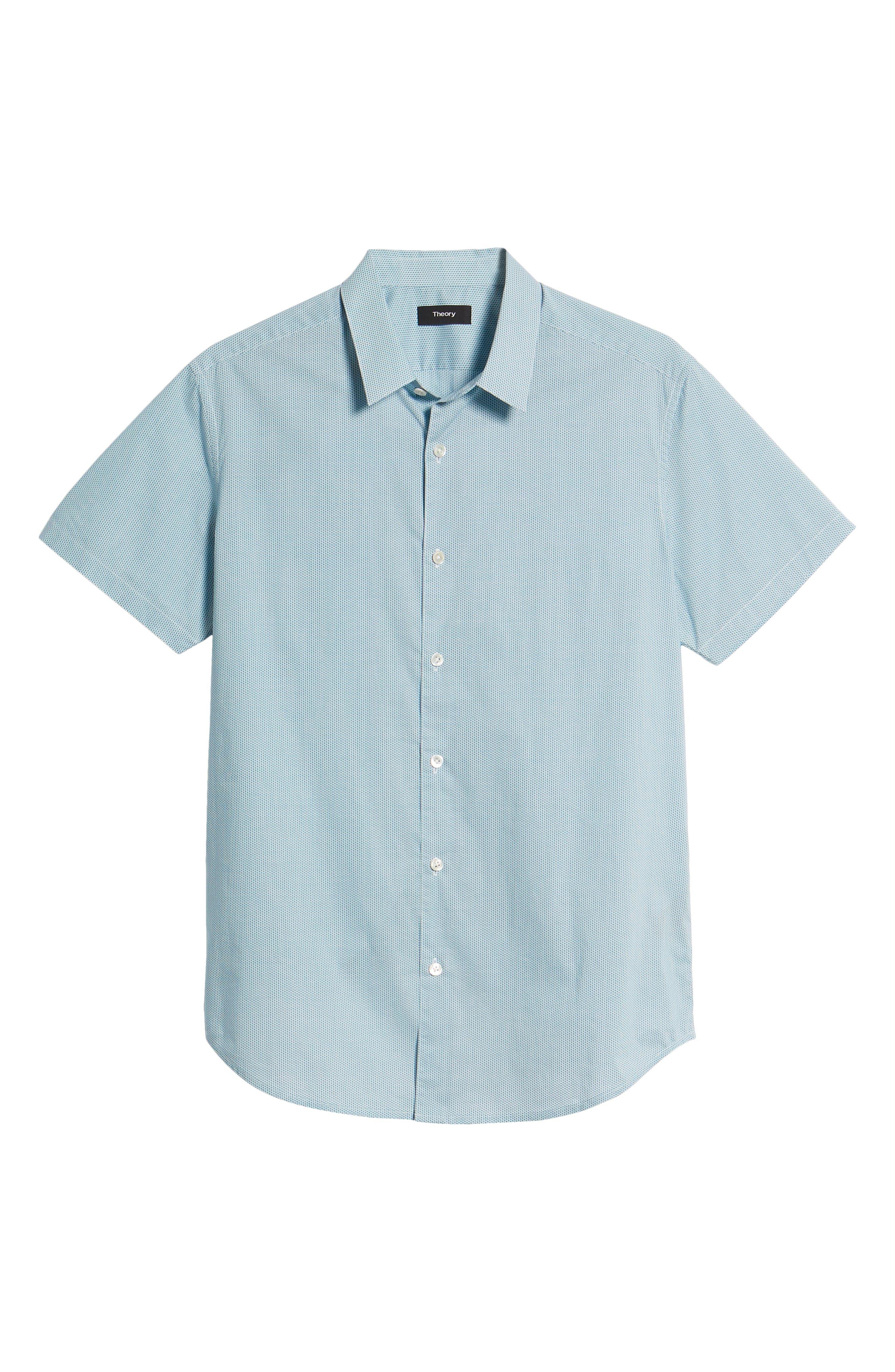 Zack Regular Fit Mini Print Sport Shirt,                             Alternate thumbnail 6, color,                             White/ Splash