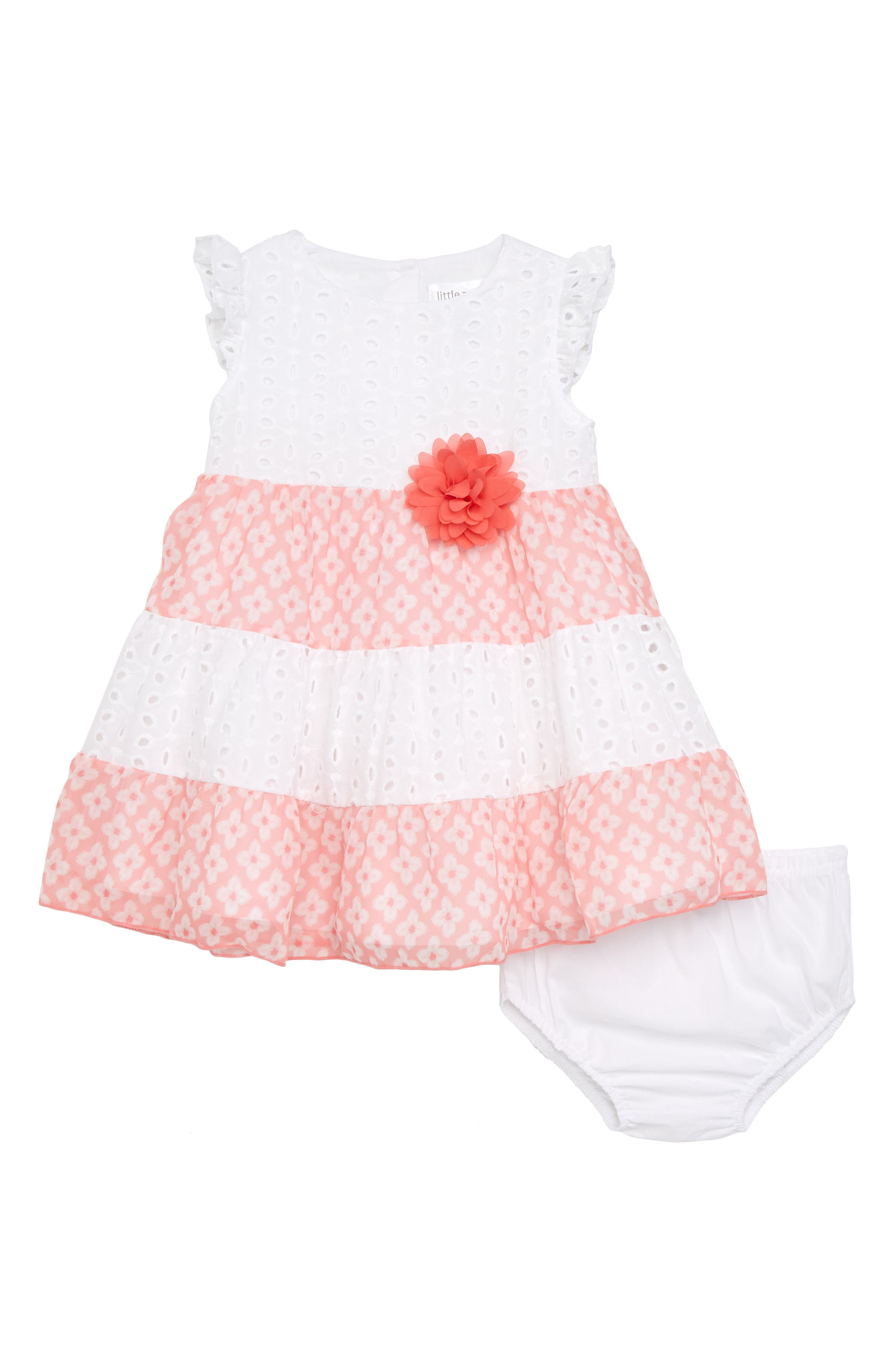 Eyelet Lace Dress with Chiffon Trim,                             Main thumbnail 1, color,                             Coral