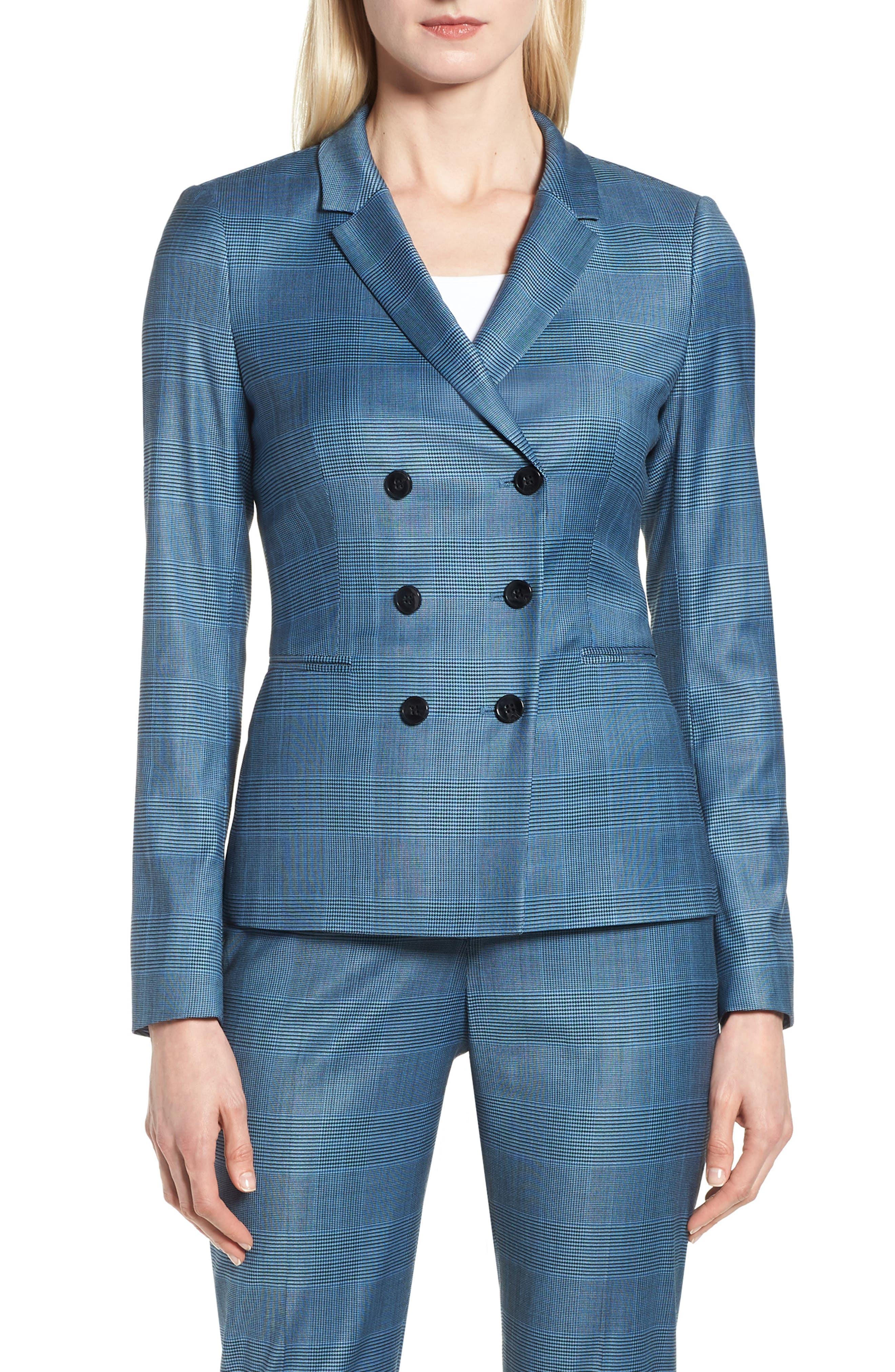 Jelaya Glencheck Double Breasted Suit Jacket,                             Main thumbnail 1, color,                             Sailor Blue Fantasy
