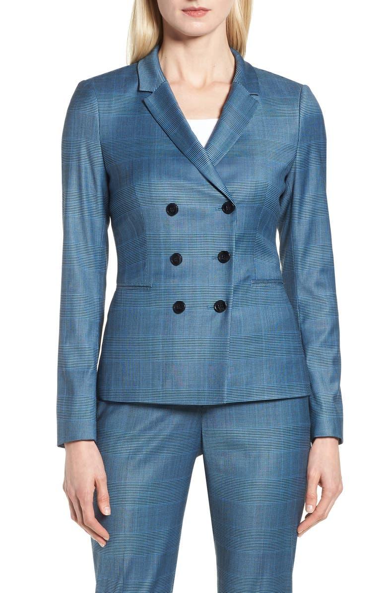 Jelaya Glencheck Double Breasted Suit Jacket