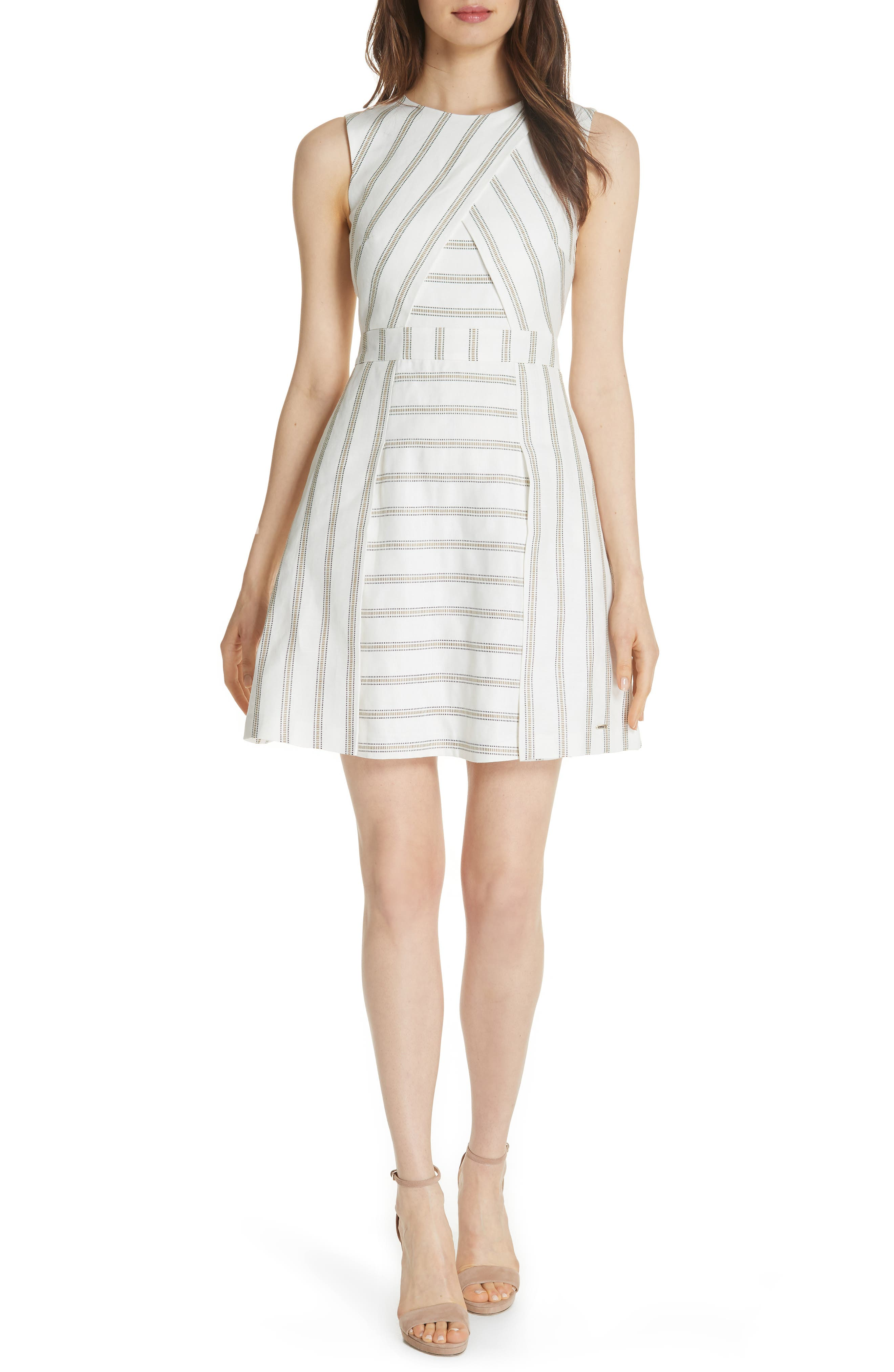 Colour by Numbers Cross Front Skater Dress,                         Main,                         color, Ivory