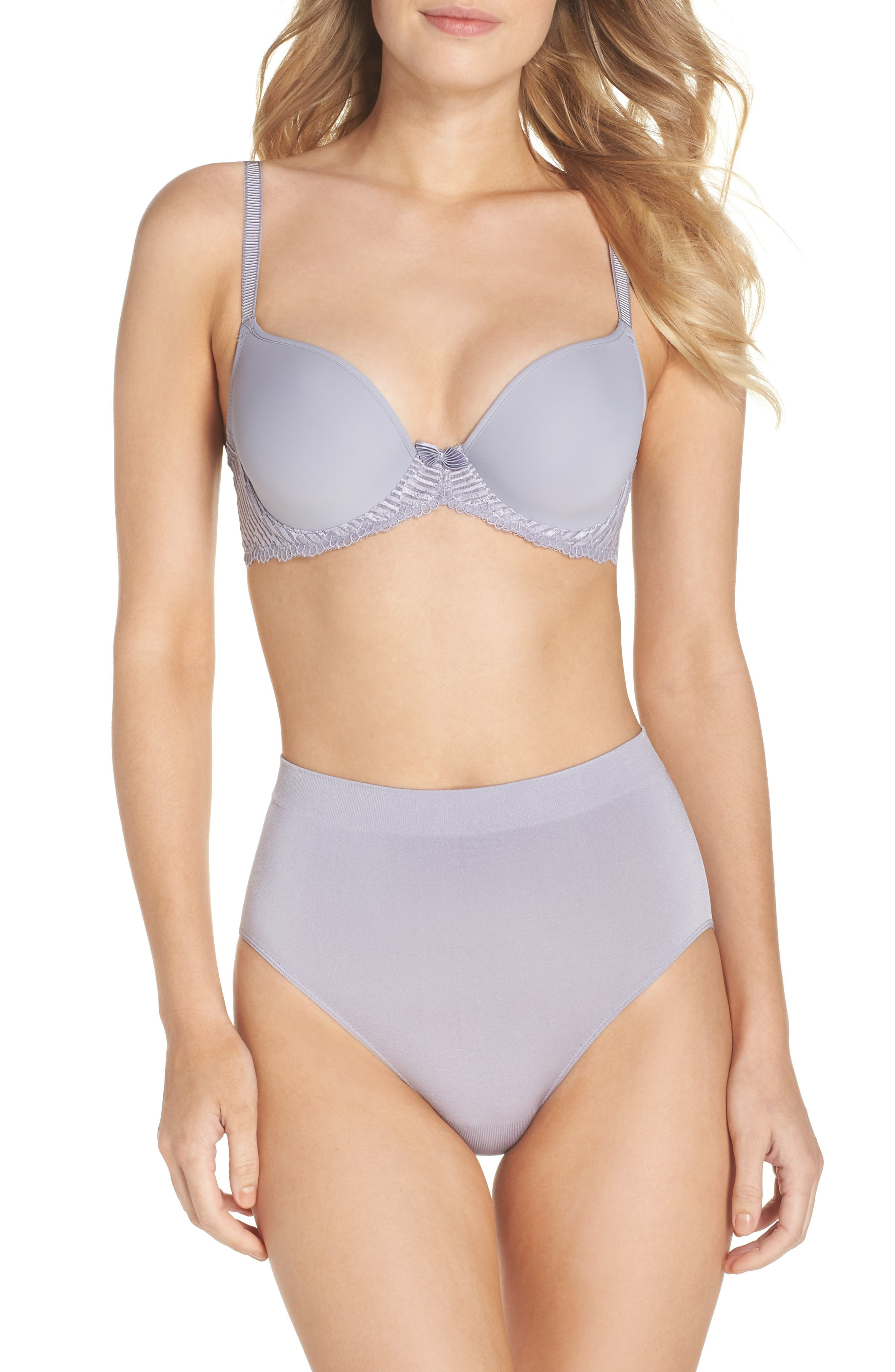 La Femme Molded Underwire Bra,                             Alternate thumbnail 4, color,                             Lilac Gray