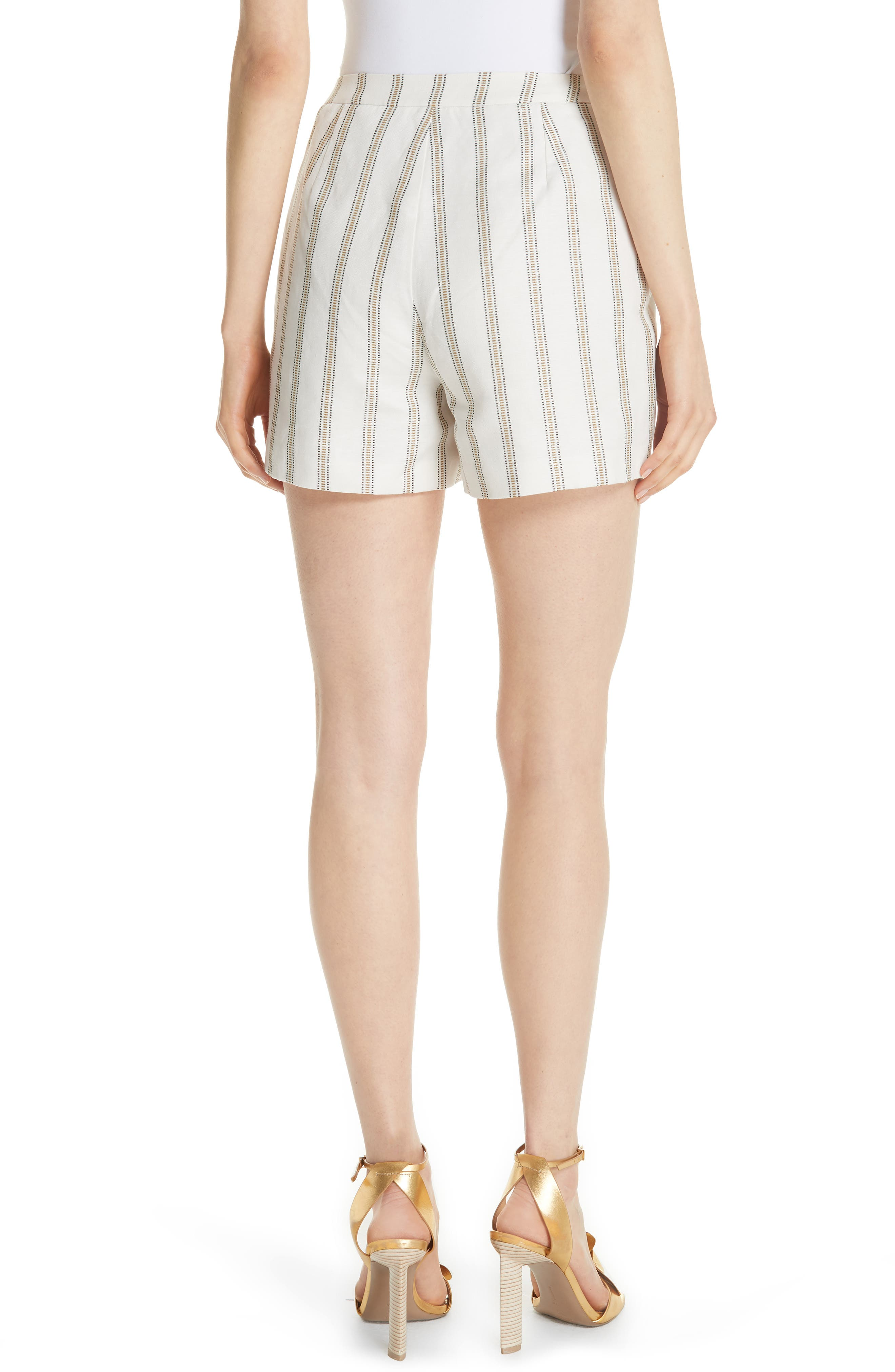 Colour by Numbers Helenn Stripe Shorts,                             Alternate thumbnail 2, color,                             Ivory