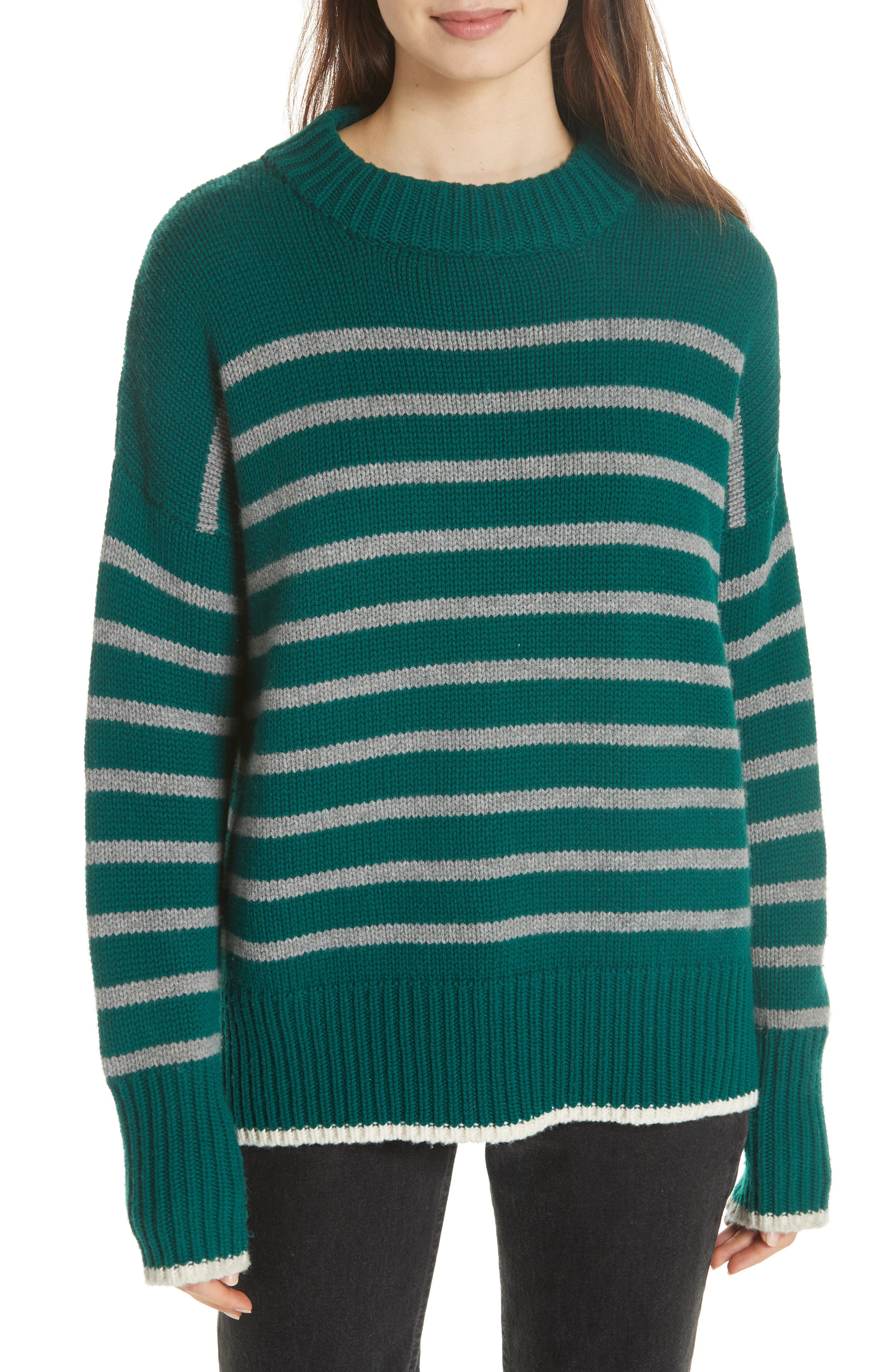 Marin Wool & Cashmere Sweater in Forest Green/ Grey Marle
