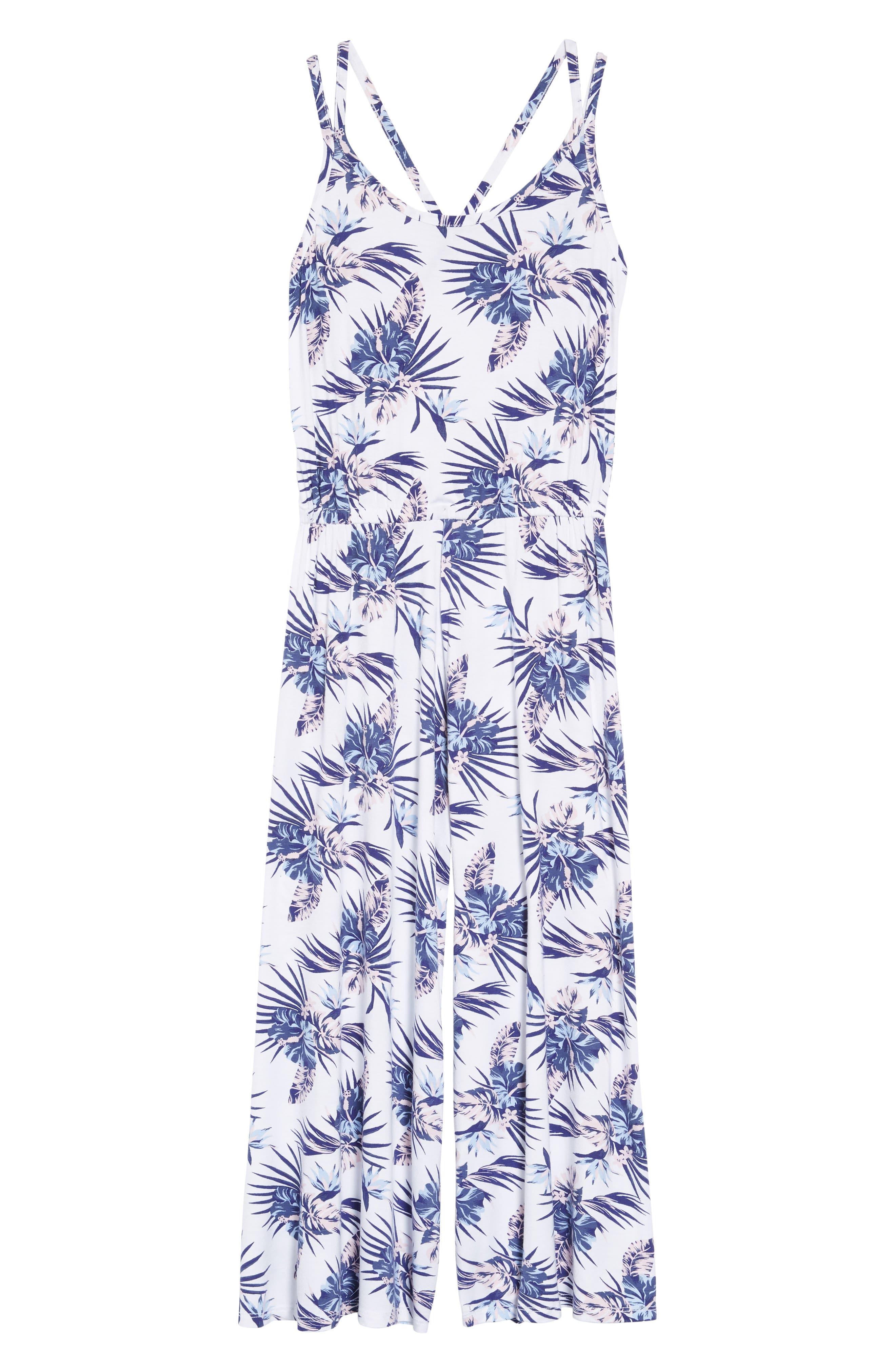 Floral Print Jumpsuit,                         Main,                         color, White- Blue Tropical