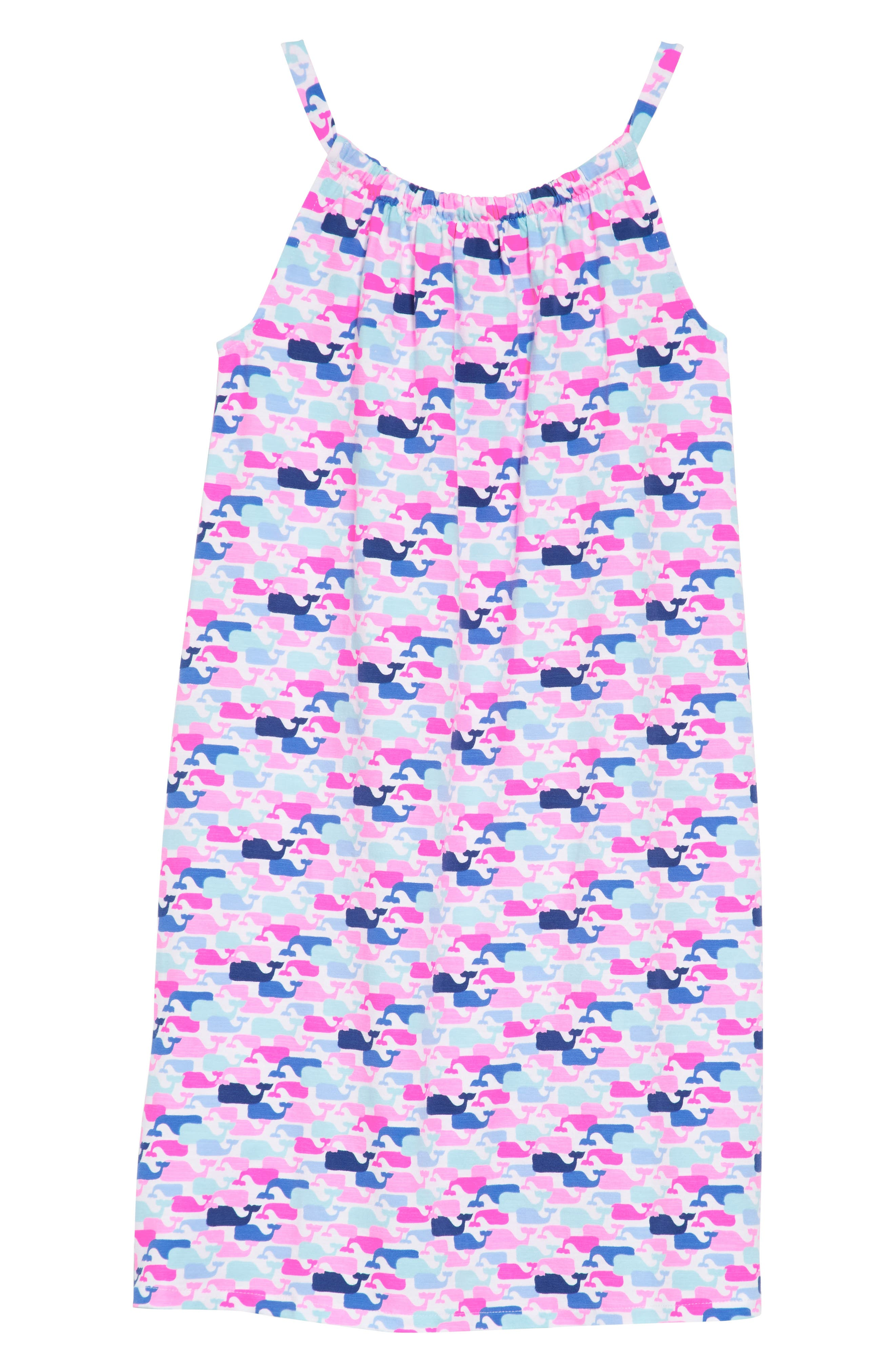 Whale Print Dress,                         Main,                         color, White Cap
