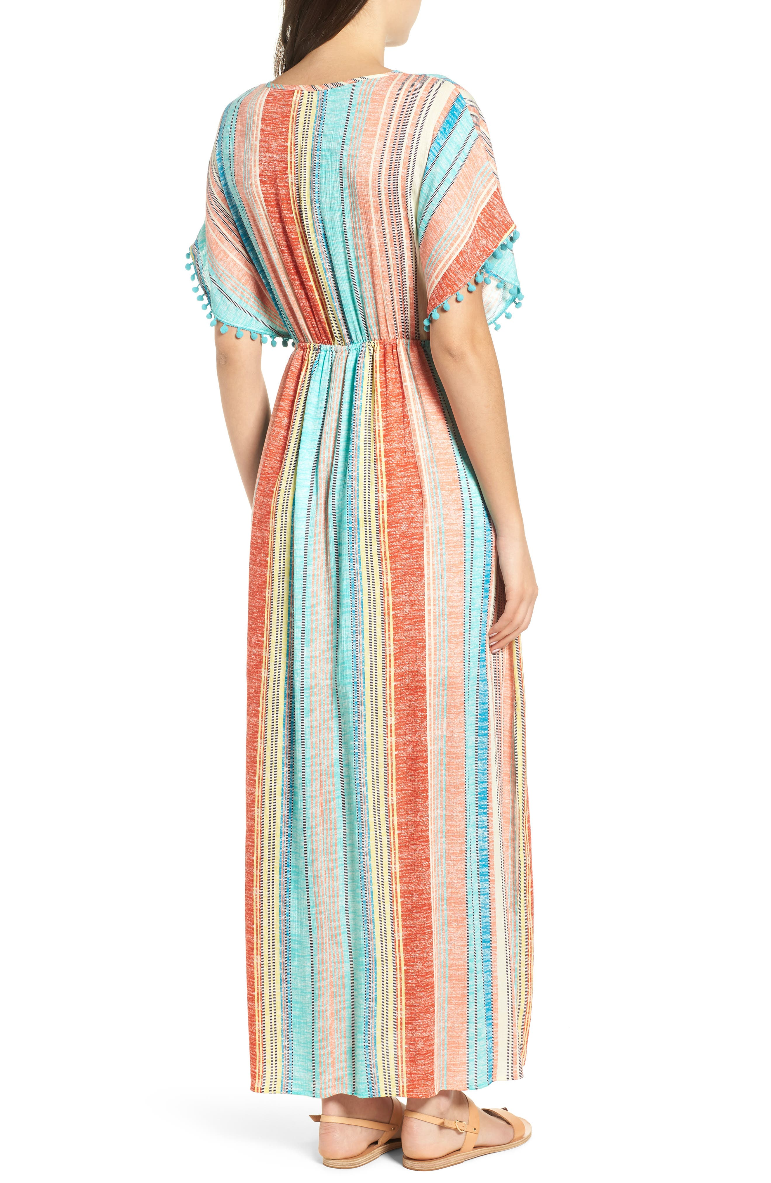 Stripe Pompom Trim Caftan,                             Alternate thumbnail 2, color,                             Coral Stripe