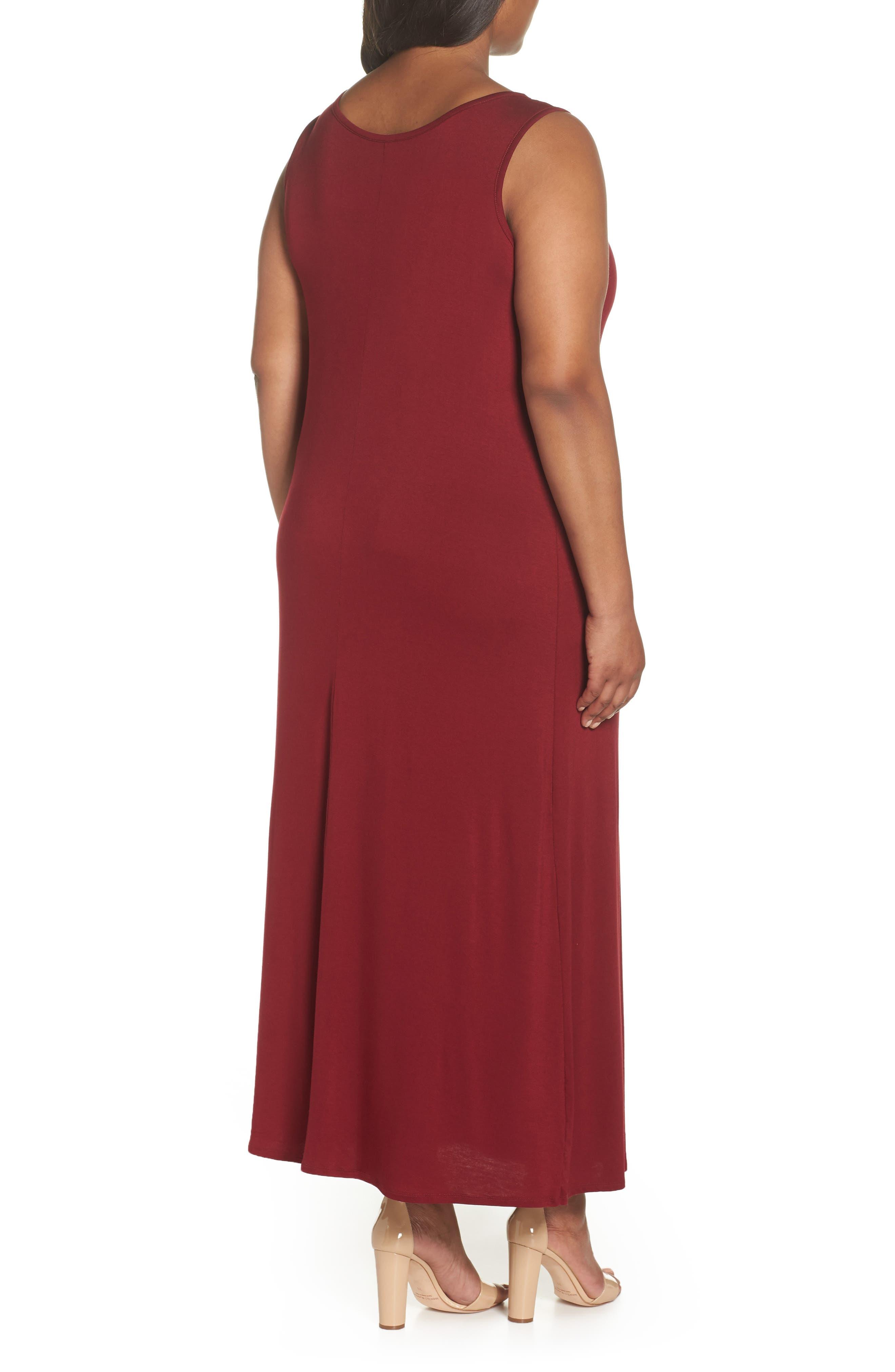 Tie Strap Knit Maxi Dress,                             Alternate thumbnail 2, color,                             Wine