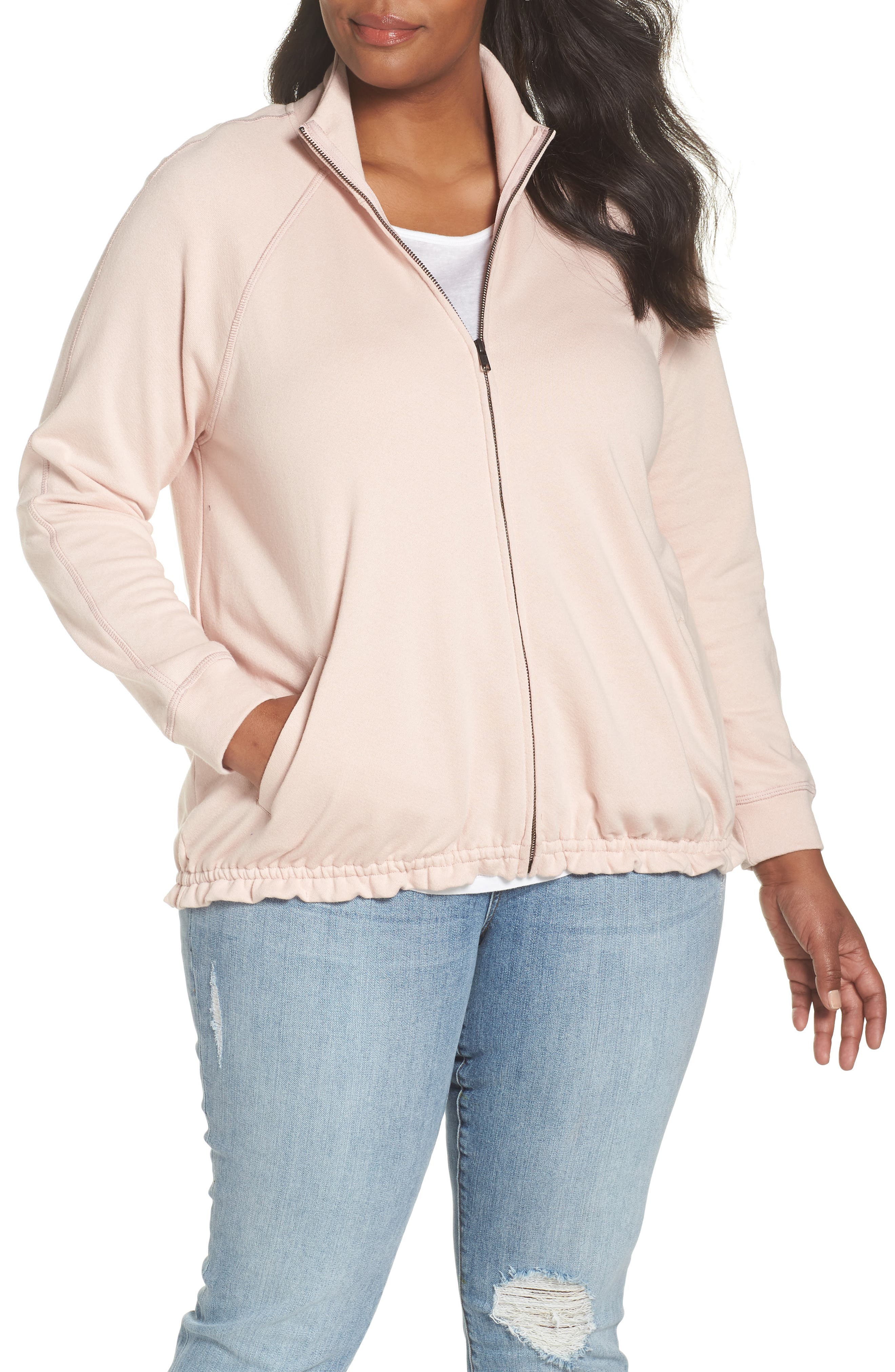 Off-Duty Knit Track Jacket,                         Main,                         color, Pink Smoke