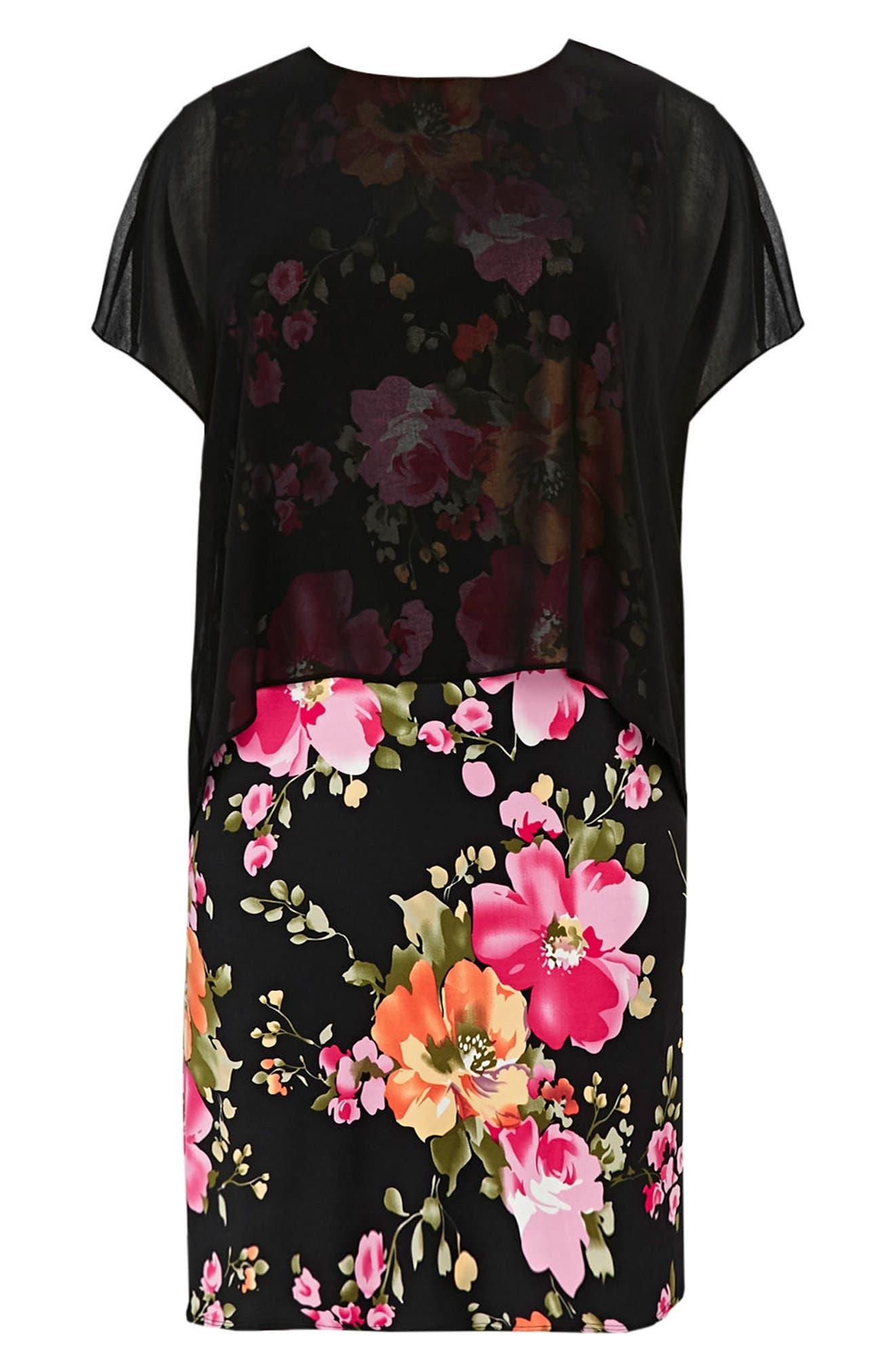 Floral Overlay Shift Dress,                             Alternate thumbnail 4, color,                             Black