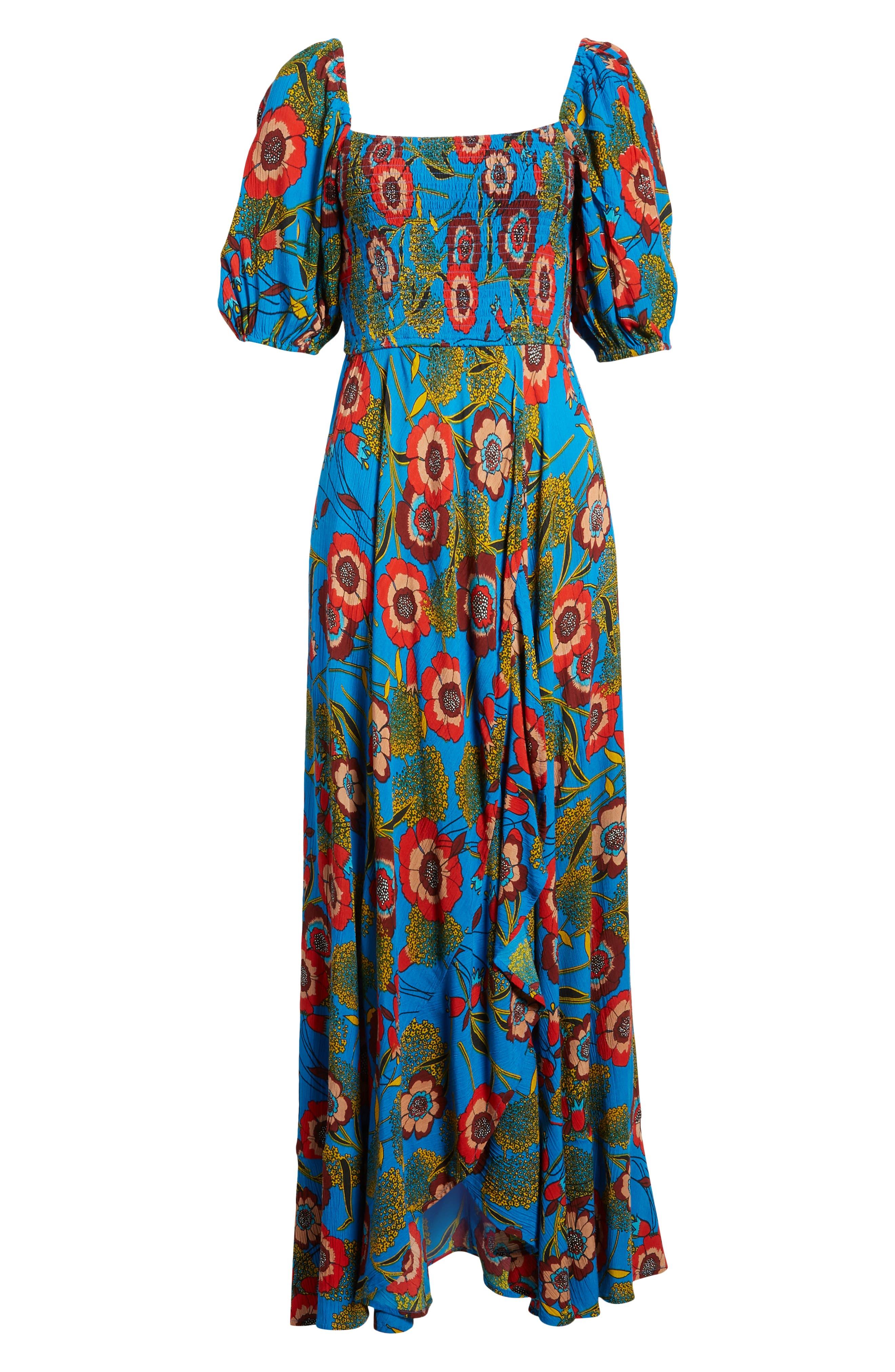 Heirloom Blossom Maxi Dress,                             Alternate thumbnail 7, color,                             Royal/ Blue/ Red