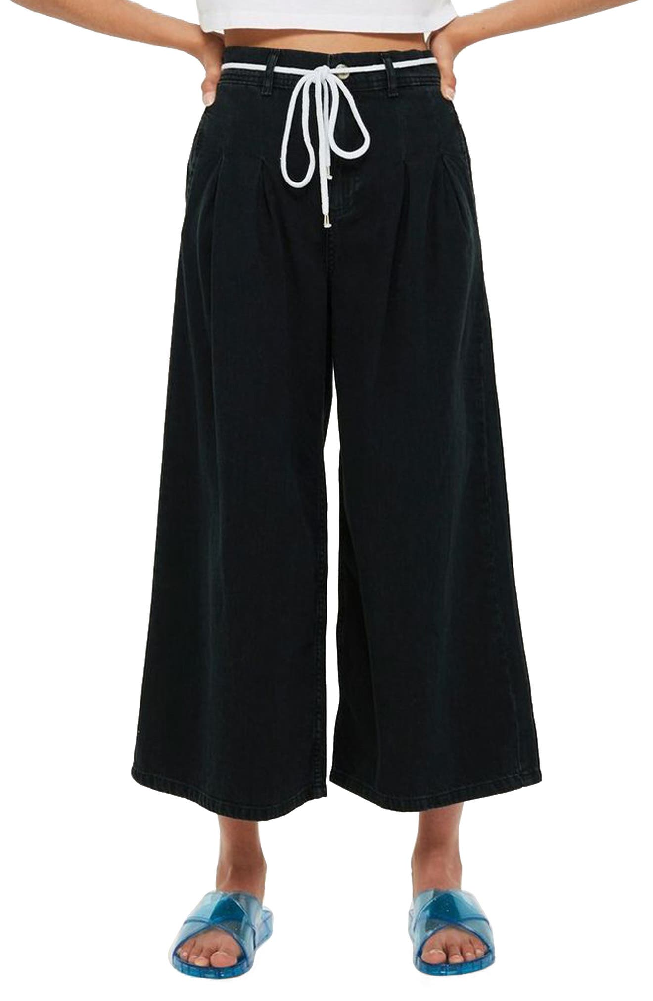 MOTO Pleated Tie Crop Jeans,                         Main,                         color, Washed Black