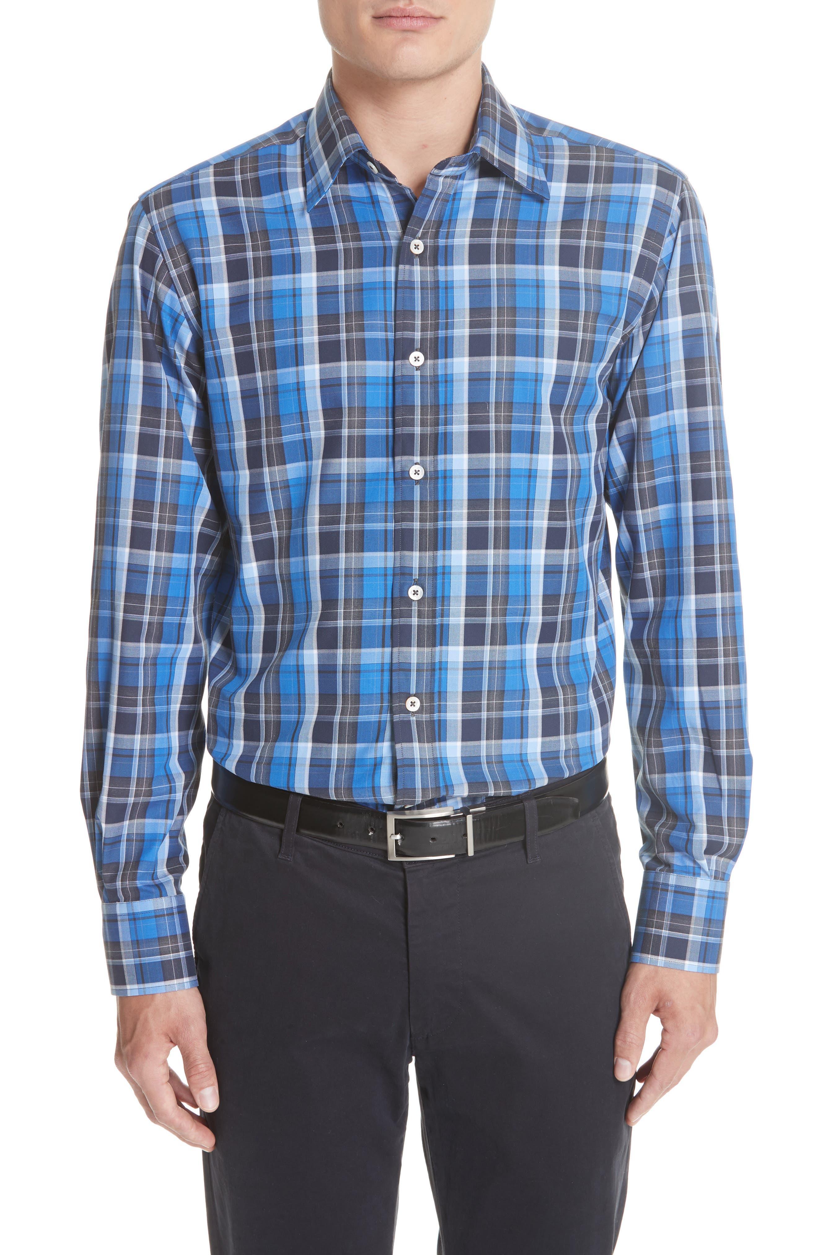 Regular Fit Plaid Sport Shirt,                             Main thumbnail 1, color,                             Blue
