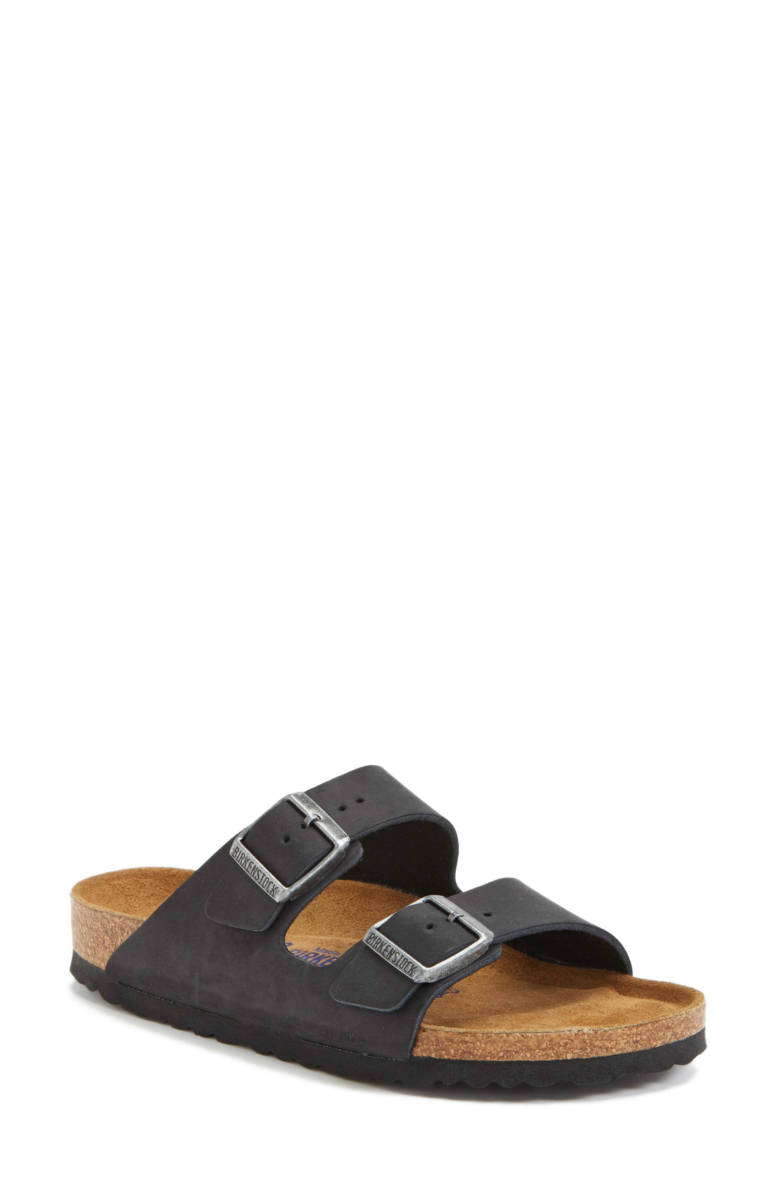 'Arizona' Soft Footbed Sandal,                             Main thumbnail 1, color,                             Black/ Black