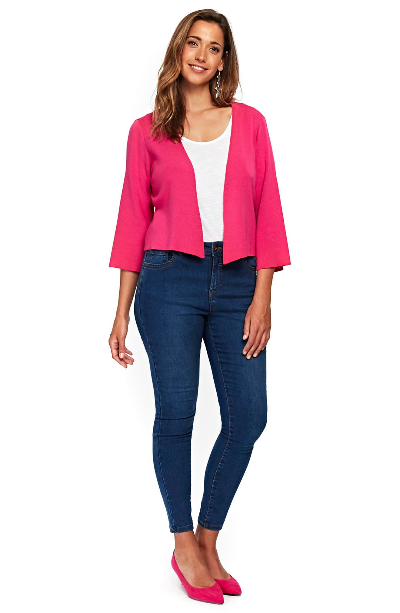 Wide Sleeve Shrug Sweater,                             Alternate thumbnail 3, color,                             Pink