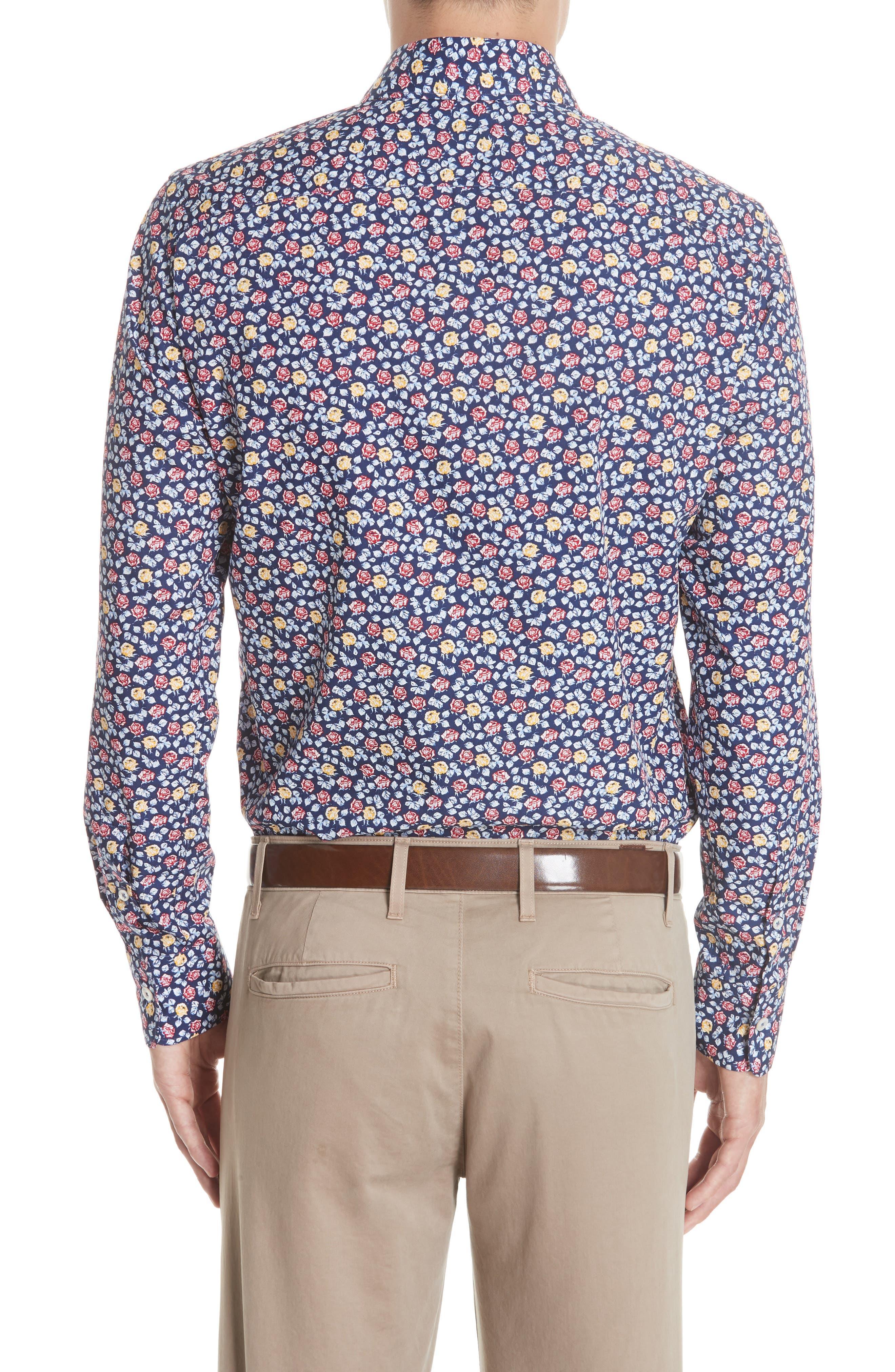 Regular Fit Floral Sport Shirt,                             Alternate thumbnail 3, color,                             Blue