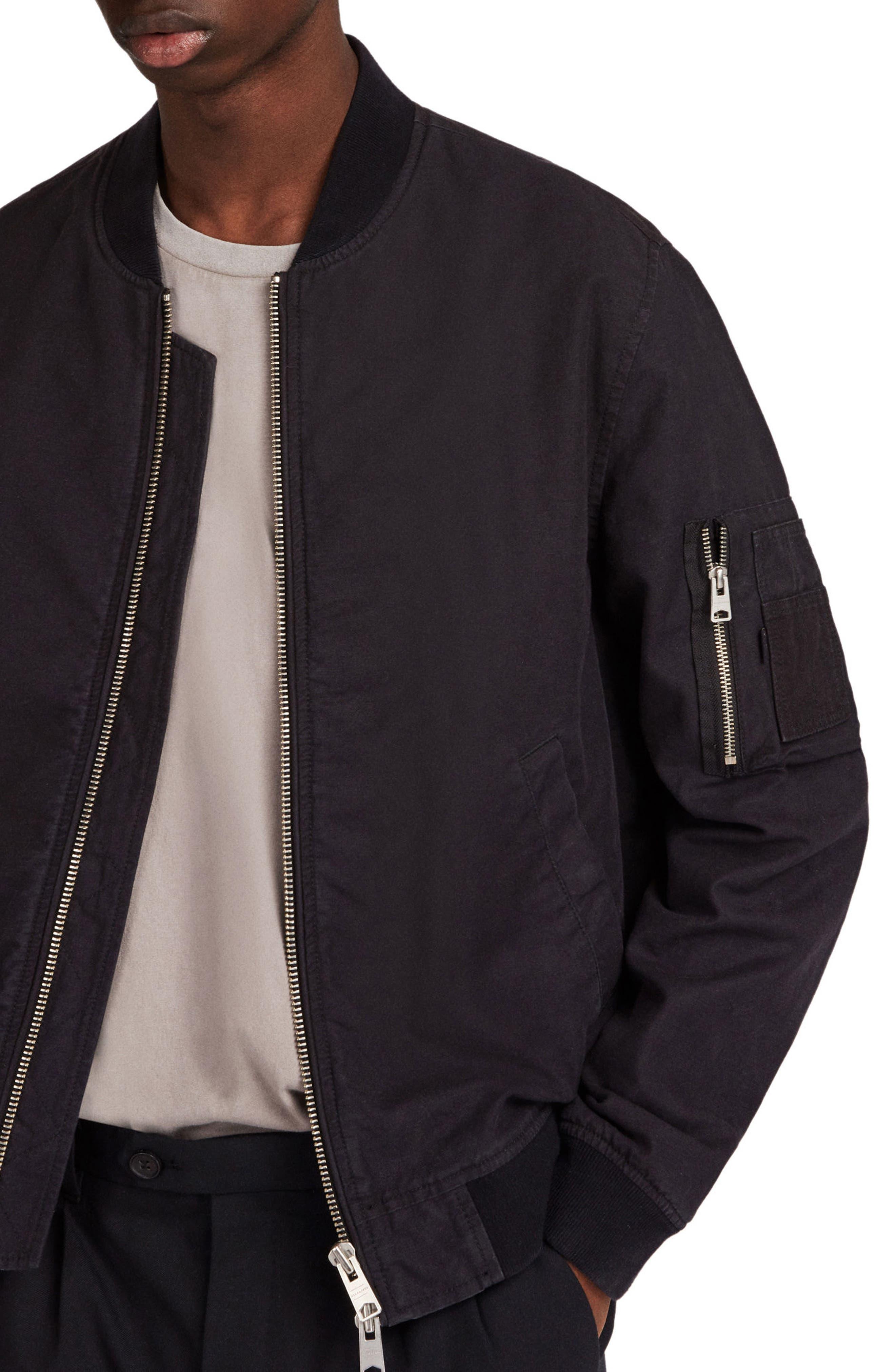 Moyne Bomber Jacket,                             Alternate thumbnail 3, color,                             Black