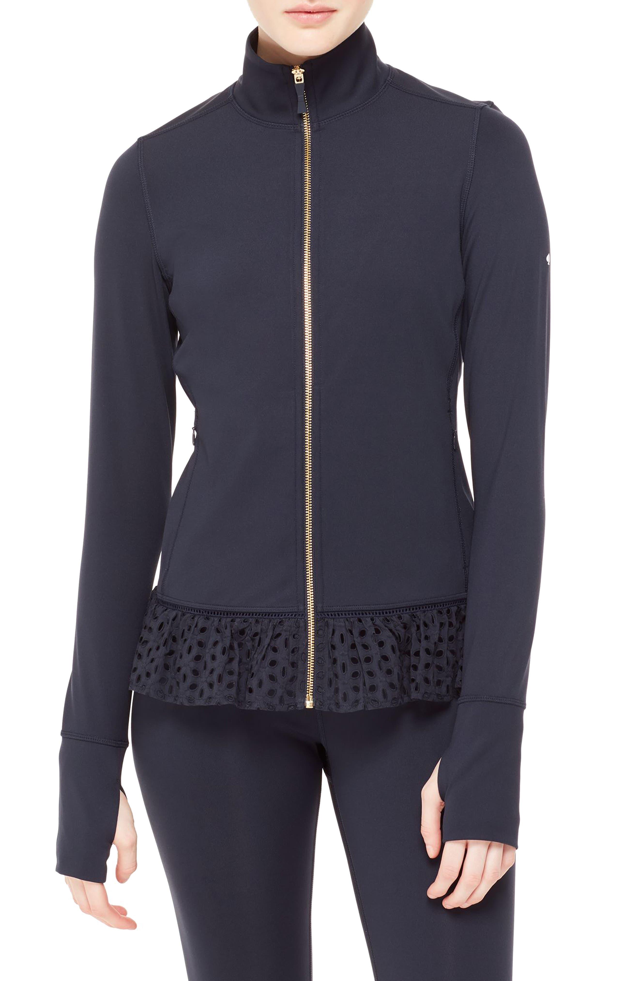 eyelet jacket,                             Main thumbnail 1, color,                             Rich Navy