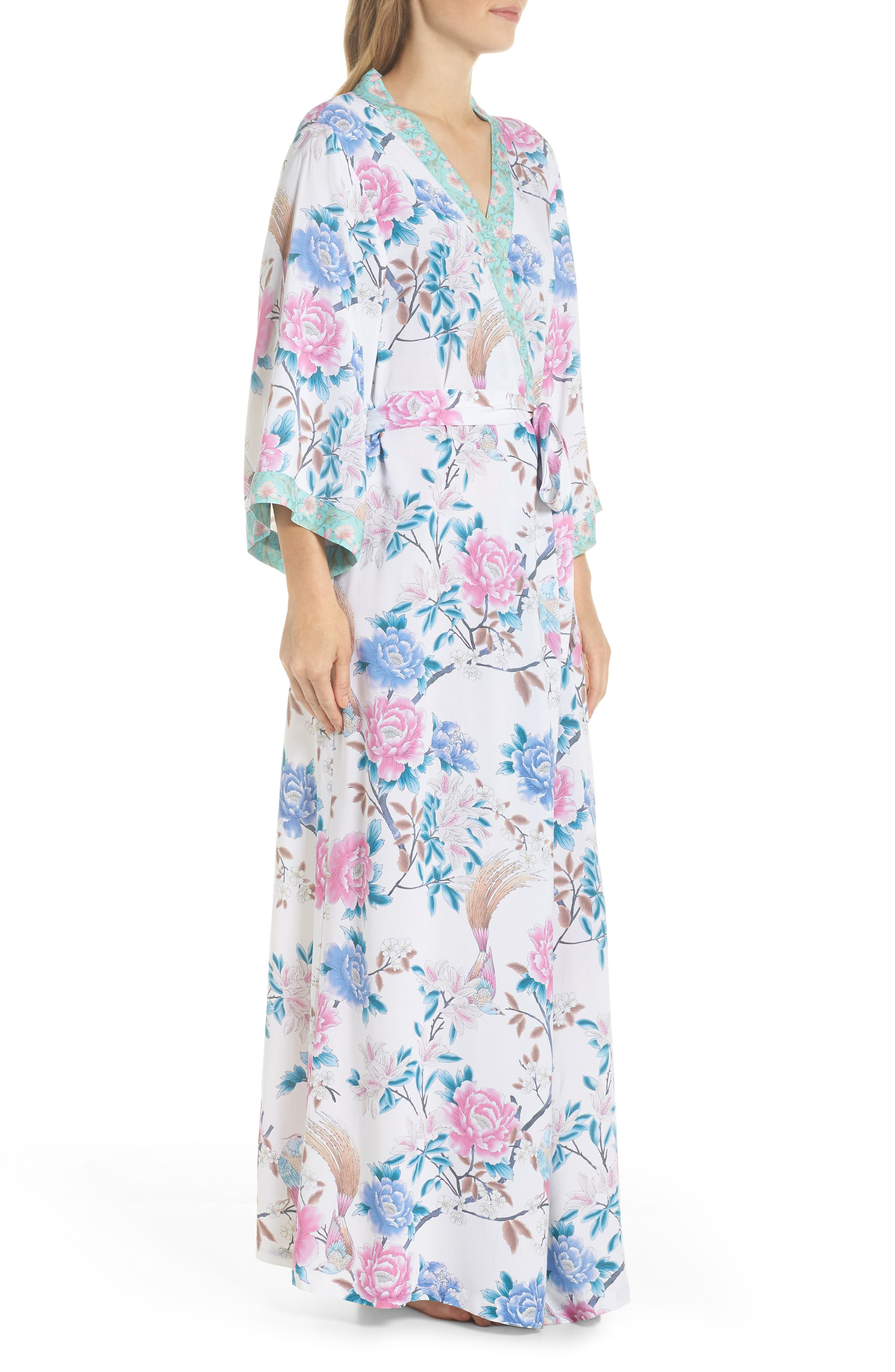 Talulah Boho Long Robe,                             Alternate thumbnail 3, color,                             Ivory Floral