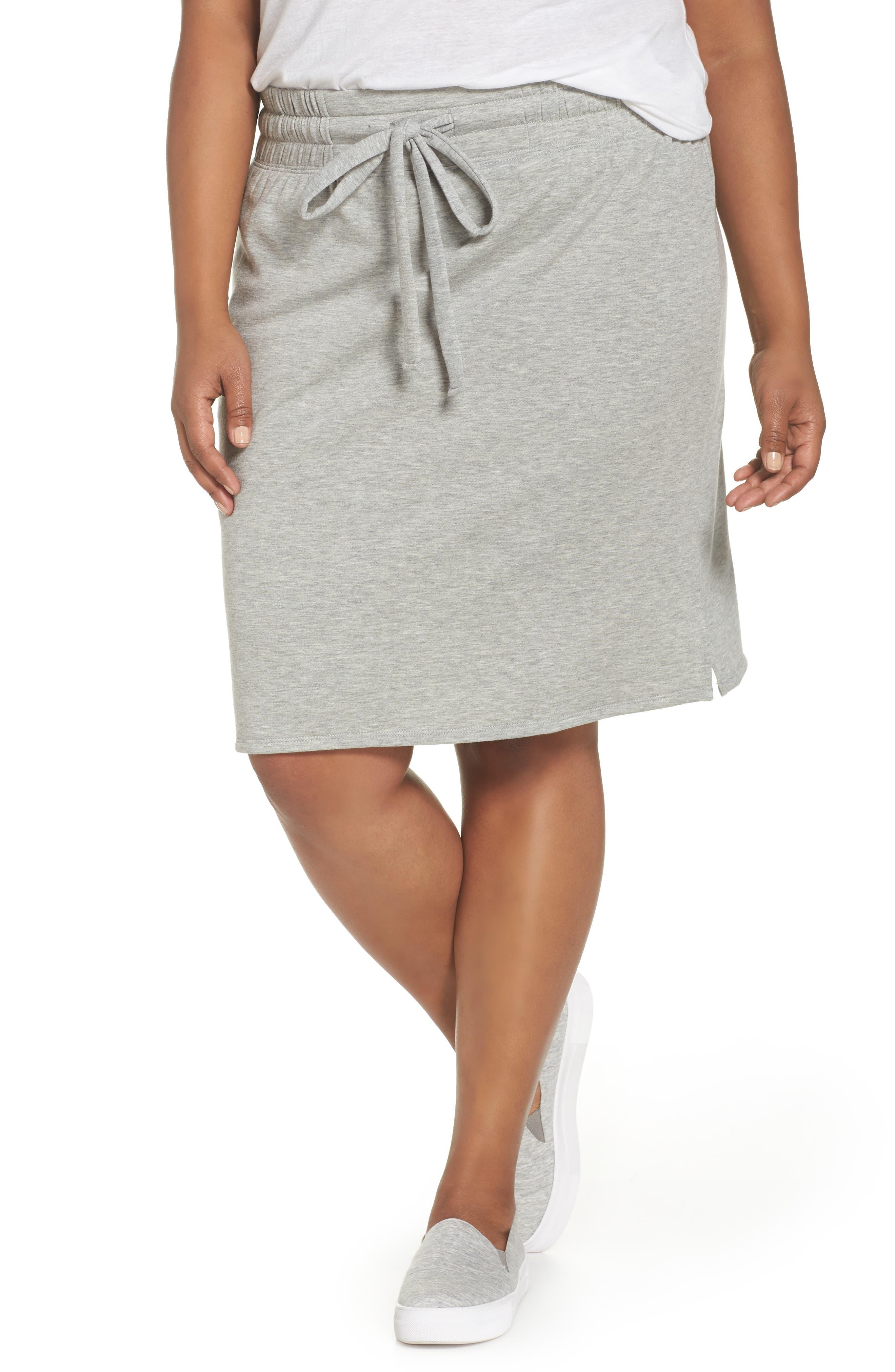 Off-Duty Tie Waist Miniskirt,                             Main thumbnail 1, color,                             Grey Heather