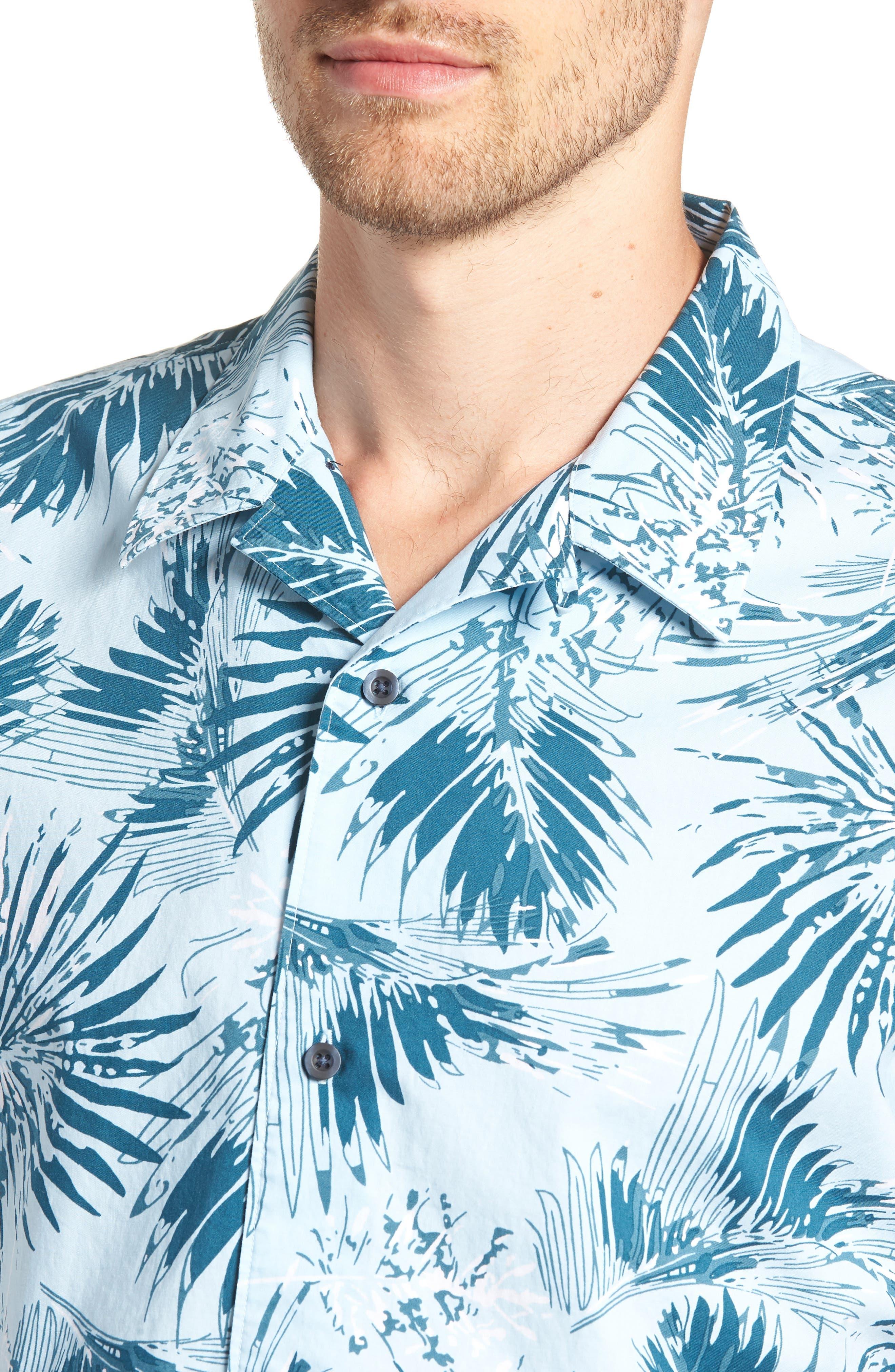 Trim Fit Palm Print Camp Shirt,                             Alternate thumbnail 2, color,                             Blue Cloud Fan Palms