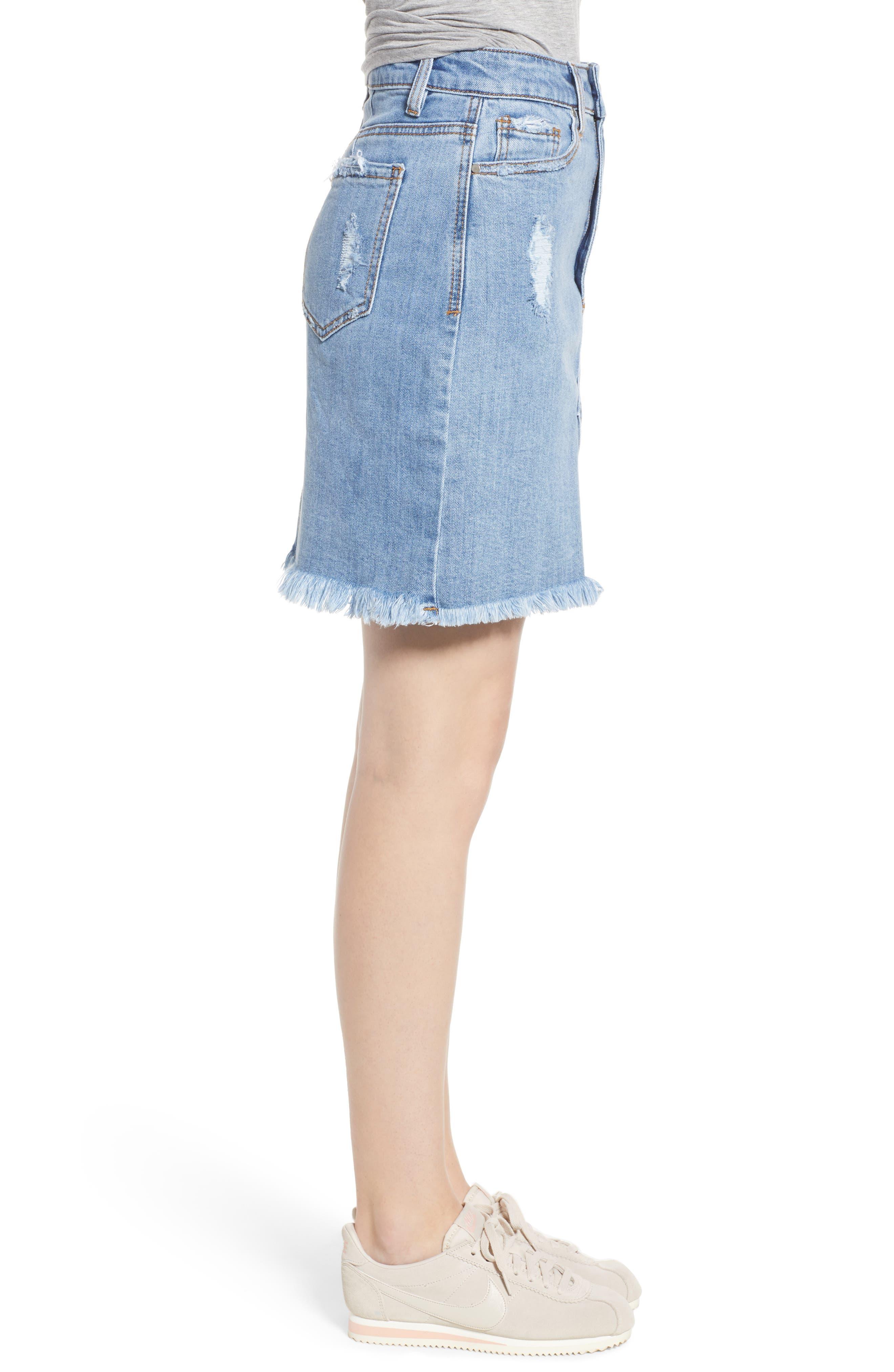 Distressed Denim Skirt,                             Alternate thumbnail 3, color,                             Light Wash