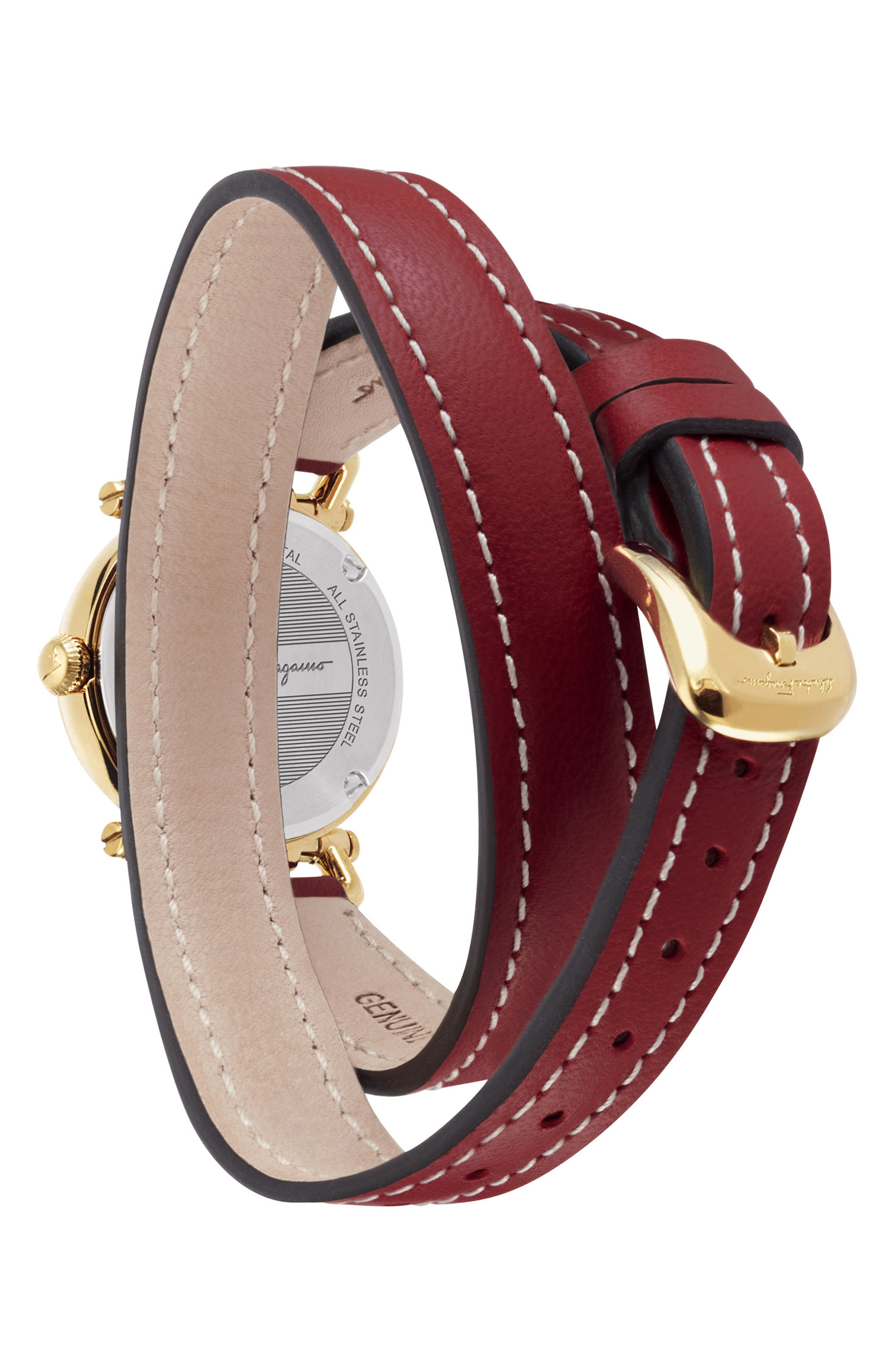 Gancino Leather Strap Watch, 26mm,                             Alternate thumbnail 2, color,                             Red/ Gold