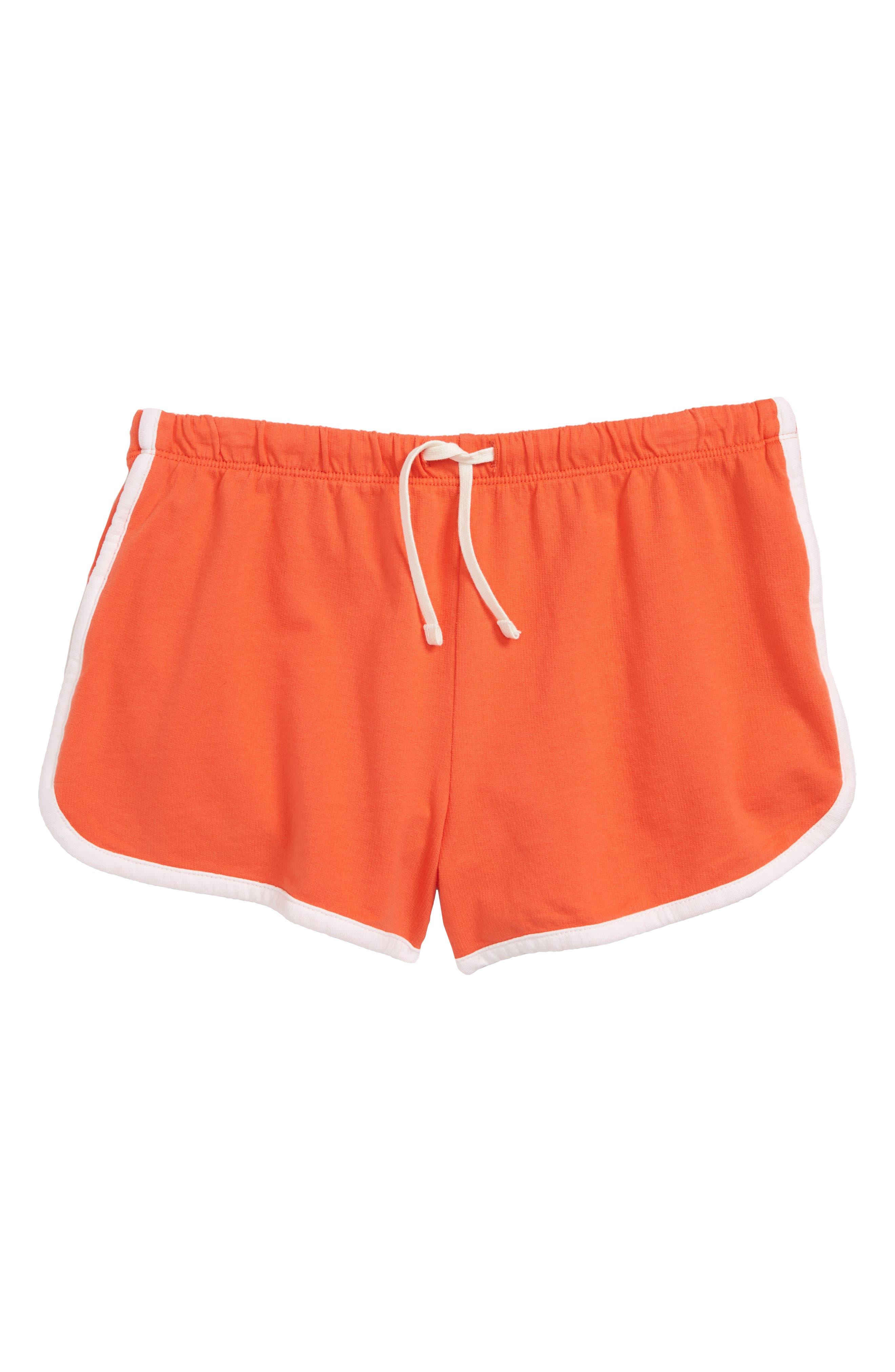 Cotton Dolphin Shorts,                             Main thumbnail 1, color,                             Coral Hot
